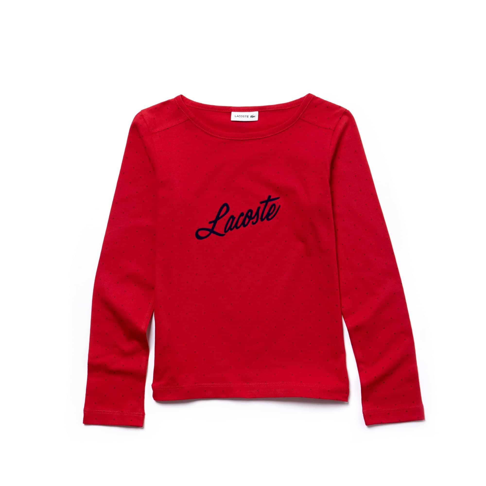 Girls' Flocked Lacoste Print Jersey T-shirt
