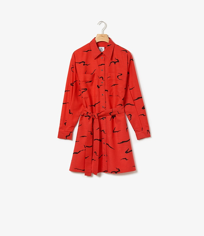 Shirt-dress in printed fabric with push buttons and detachable belt