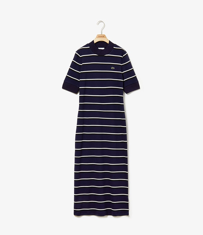 Body-fitting dress with vintage knit collar and sleeves