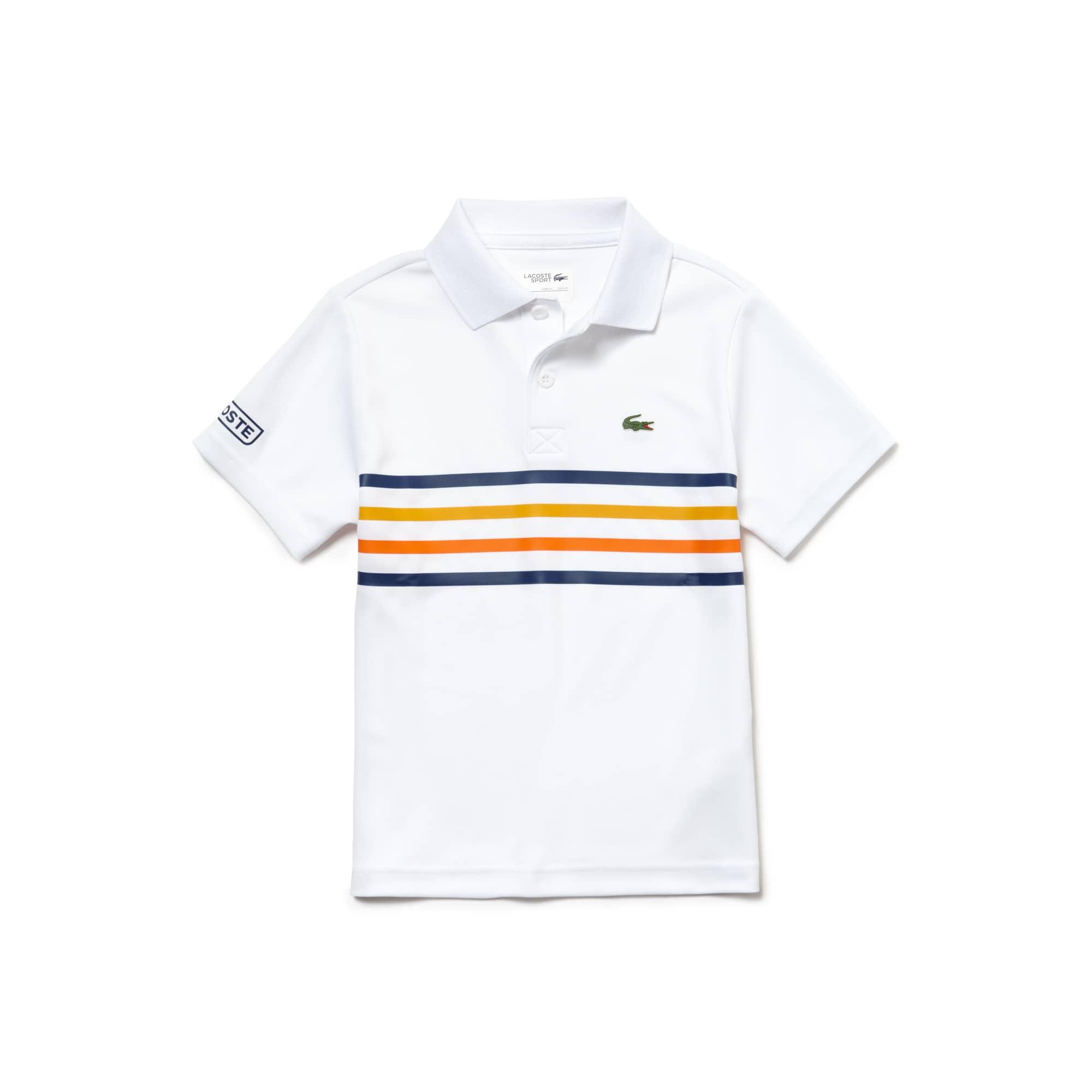 قميص بولو للتنس للأولاد من لاكوست سبورت بأشرطة ملونة وبخامة تيك بيكيه