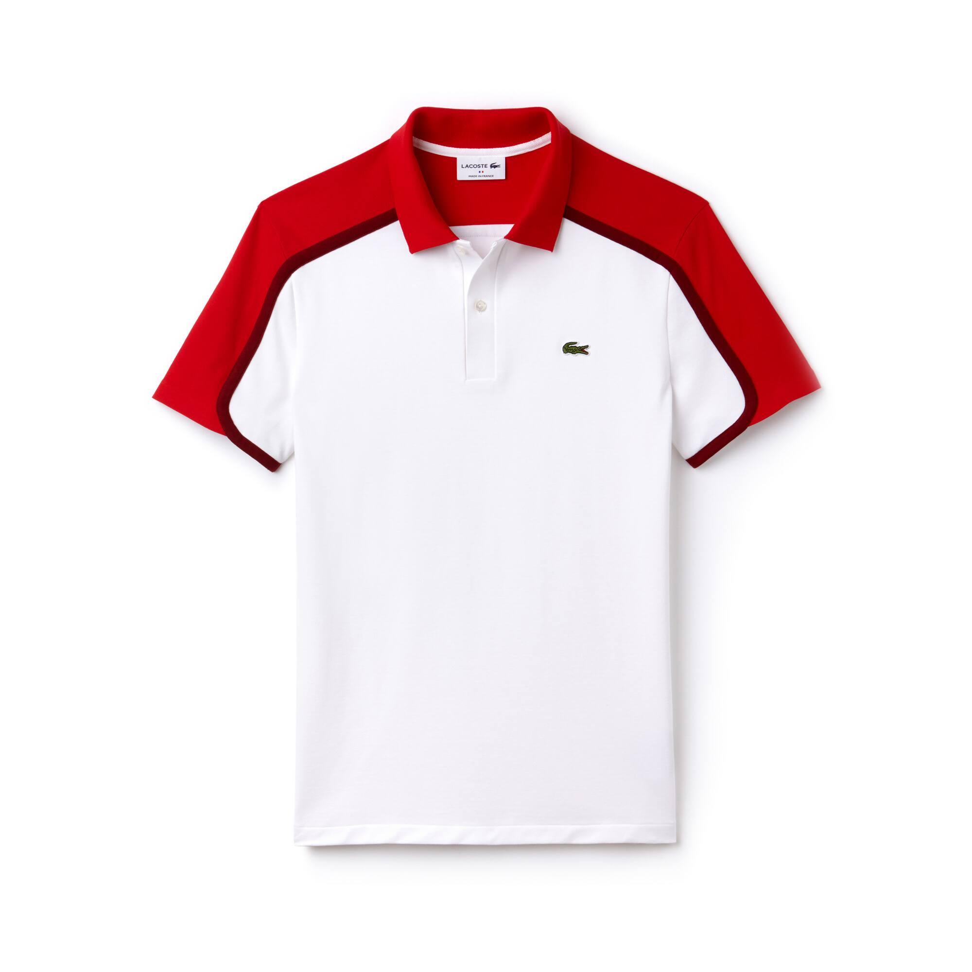 قميص بولو رجالي من مجموعة صُنع في فرنسا بمقاس ضيق وألوان متصادمة في خامة بيكيه