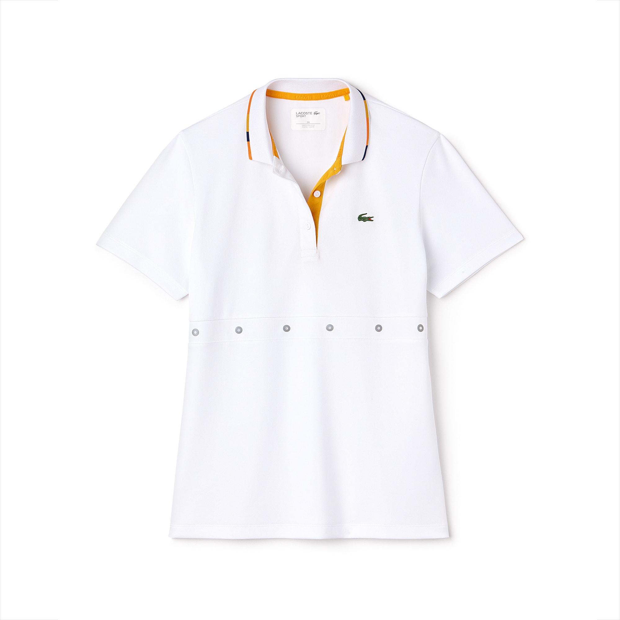 قميص بولو نسائي للتنس من لاكوست سبورت بياقة متباينة الألوان وبخامة تيك بيكيه