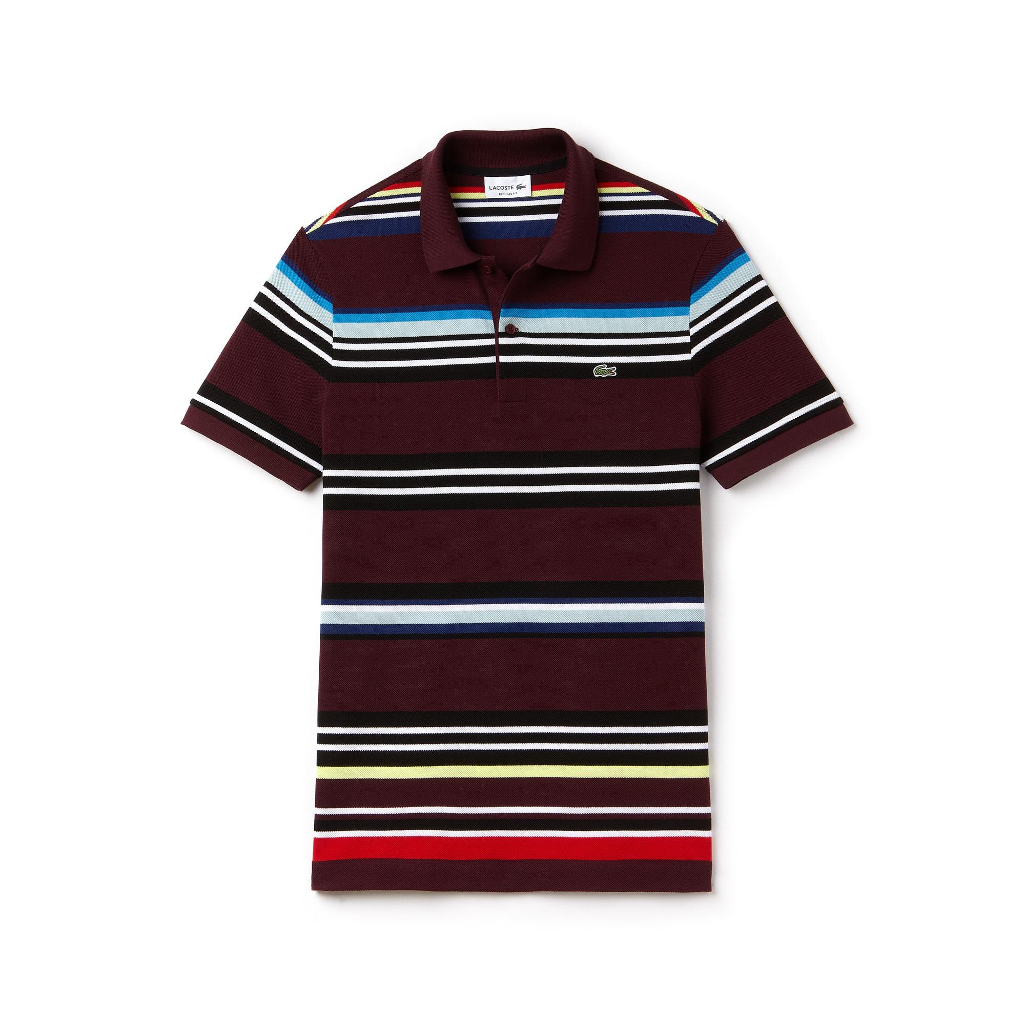 قميص بولو Lacoste ذو القصة المنتظمة مُقلَّم بألوان متعددة ومُحاك بأسلوب بيكيه للرجال