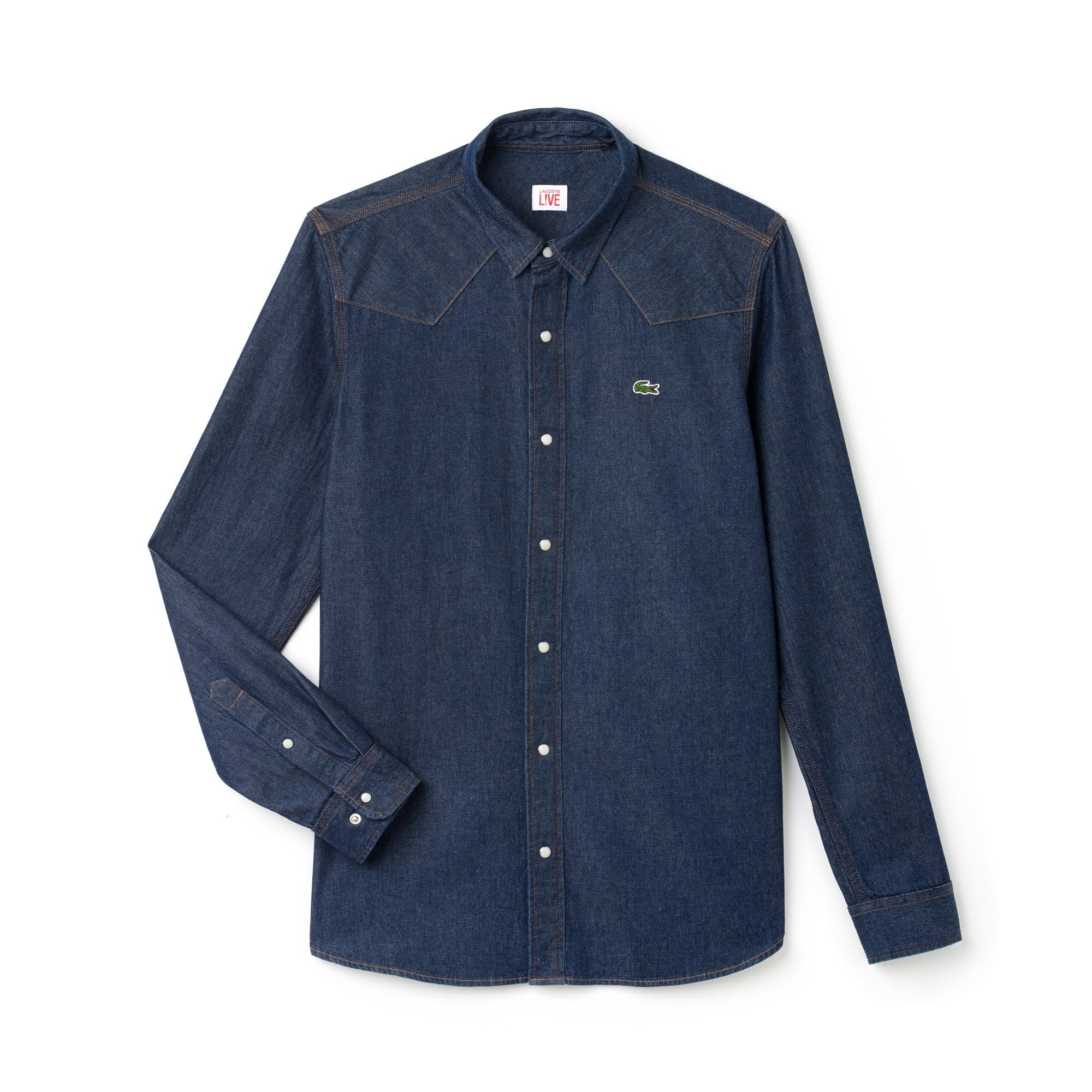 قميص رجالي مقاس ضيق برقبة من قماش الدنيم من مجموعة Lacoste LIVE