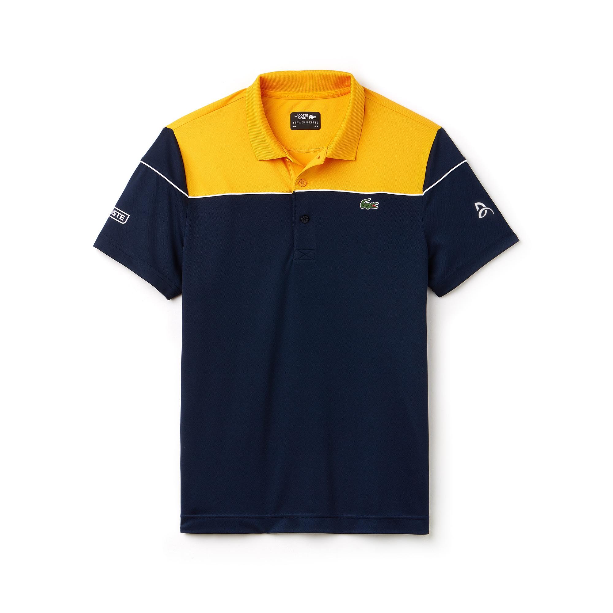 قميص بولو رجالي من مجموعة نوفاك ديوكوفيتش التي تقدمها لاكوست سبورت بألوان متصادمة وبخامة تيك بيكيه