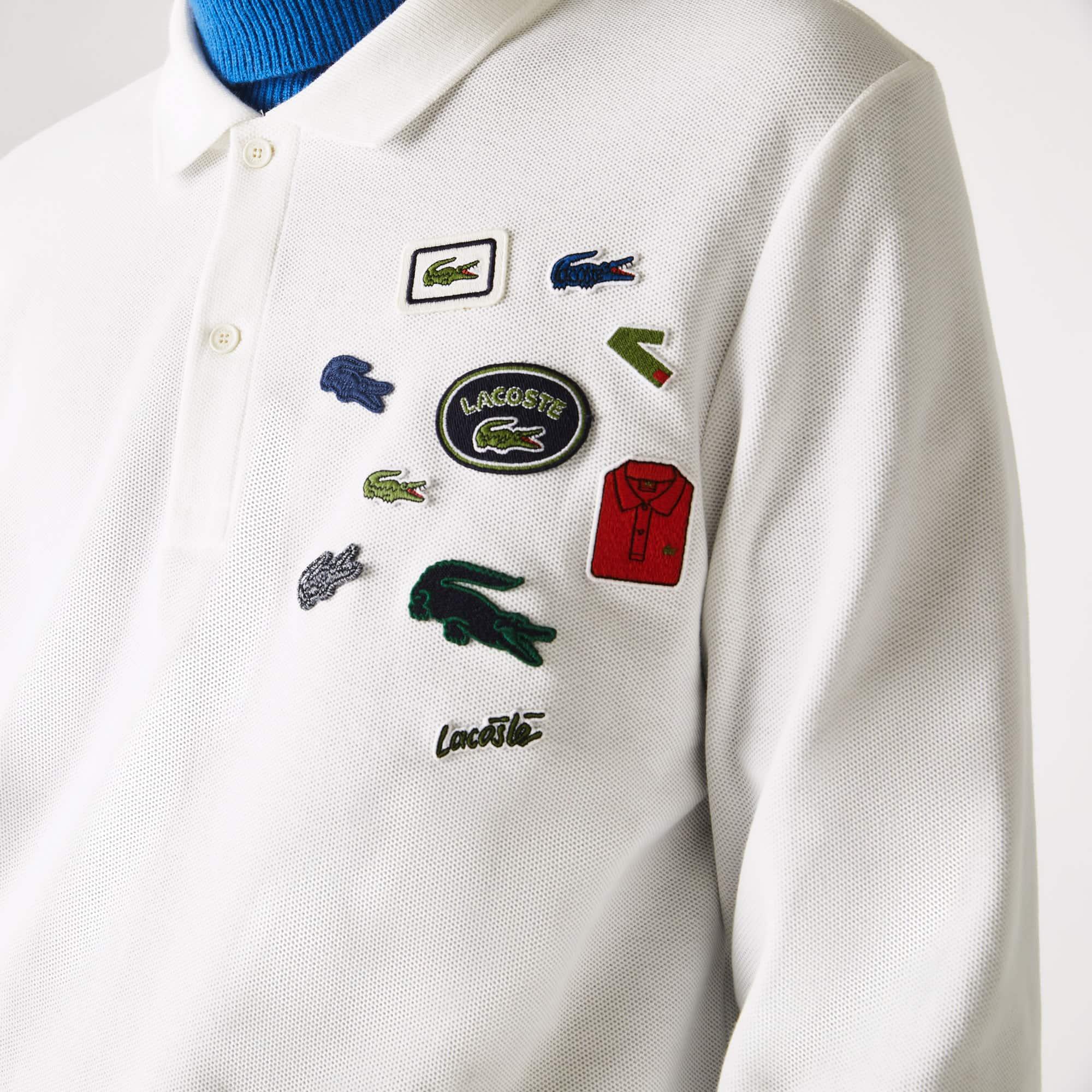 قميص بولو من القطن مع شارات بقصة عادية للرجال