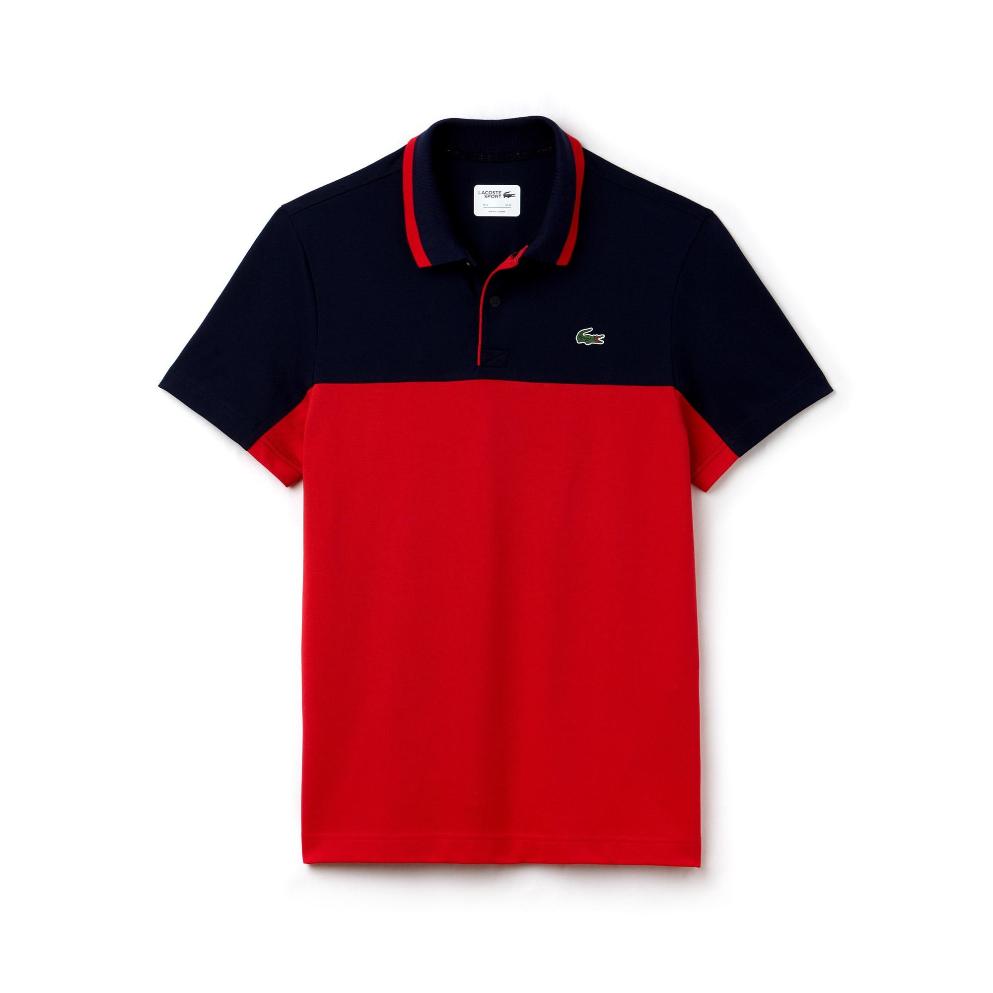 قميص البولو للغولف الرجالي من لاكوست سبورت يتميز بألوانه المتصادمة وبخامة  بيتي بيكيه