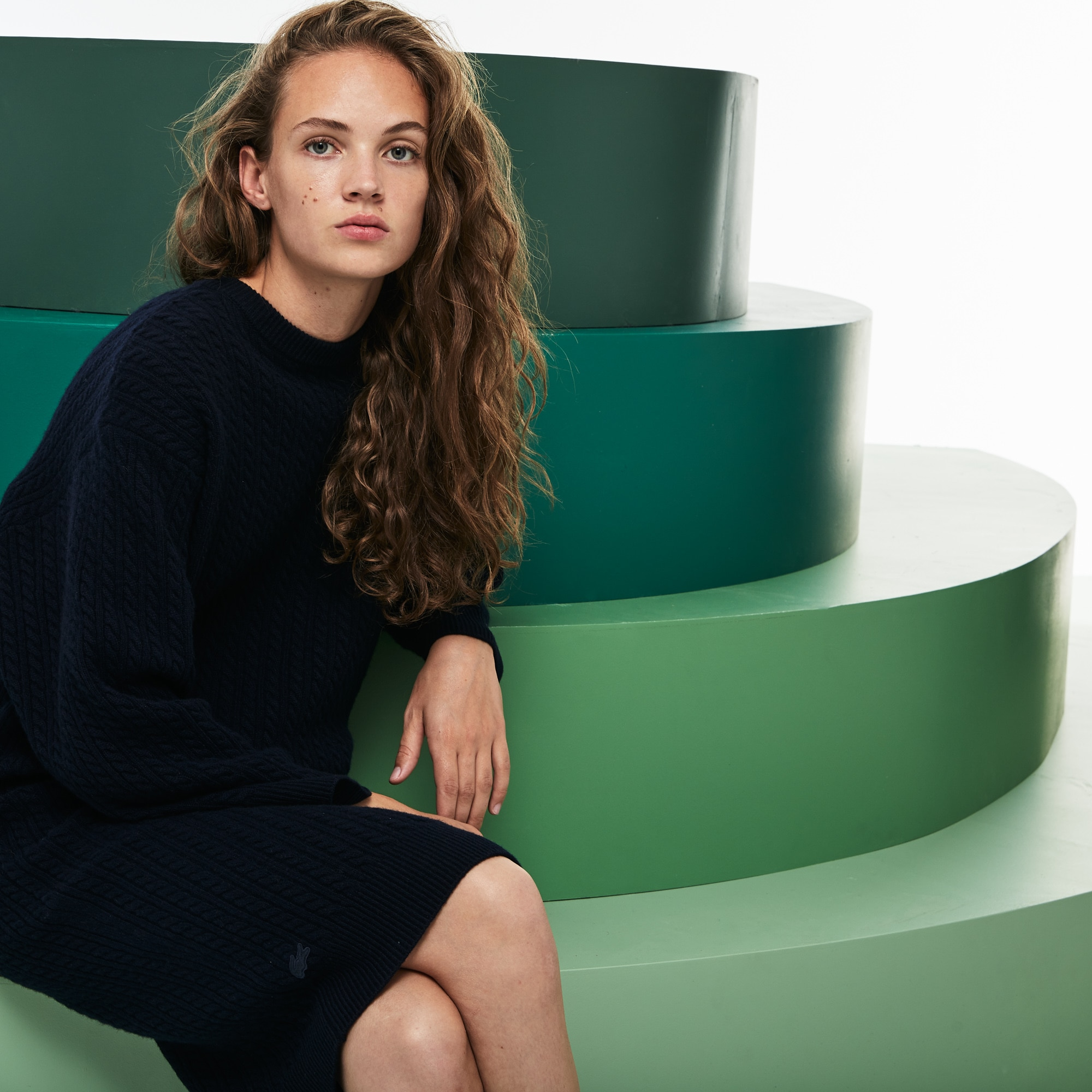 Women's Fashion Show Oversized Wool And Cashmere Sweater Dress