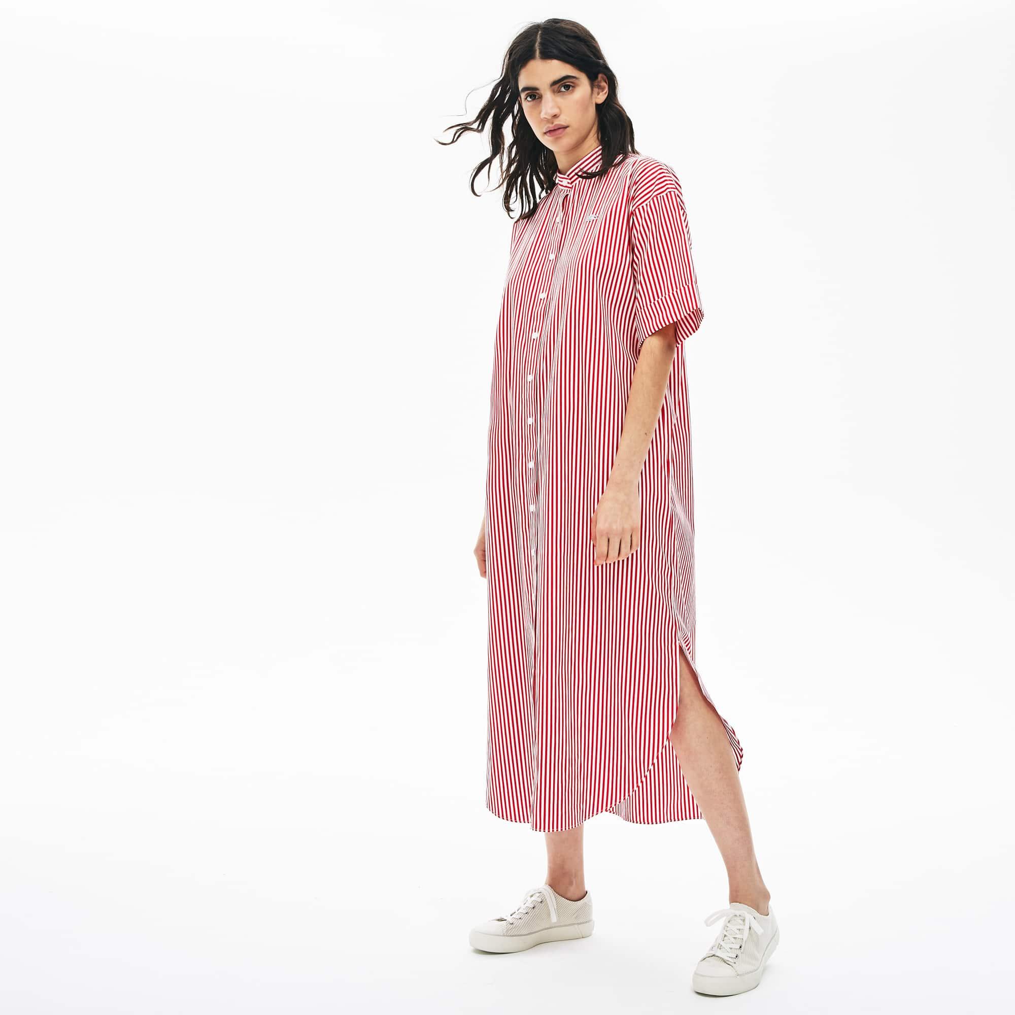 فستان طويل قطن مقلم من مجموعة Lacoste LIVE للسيدات
