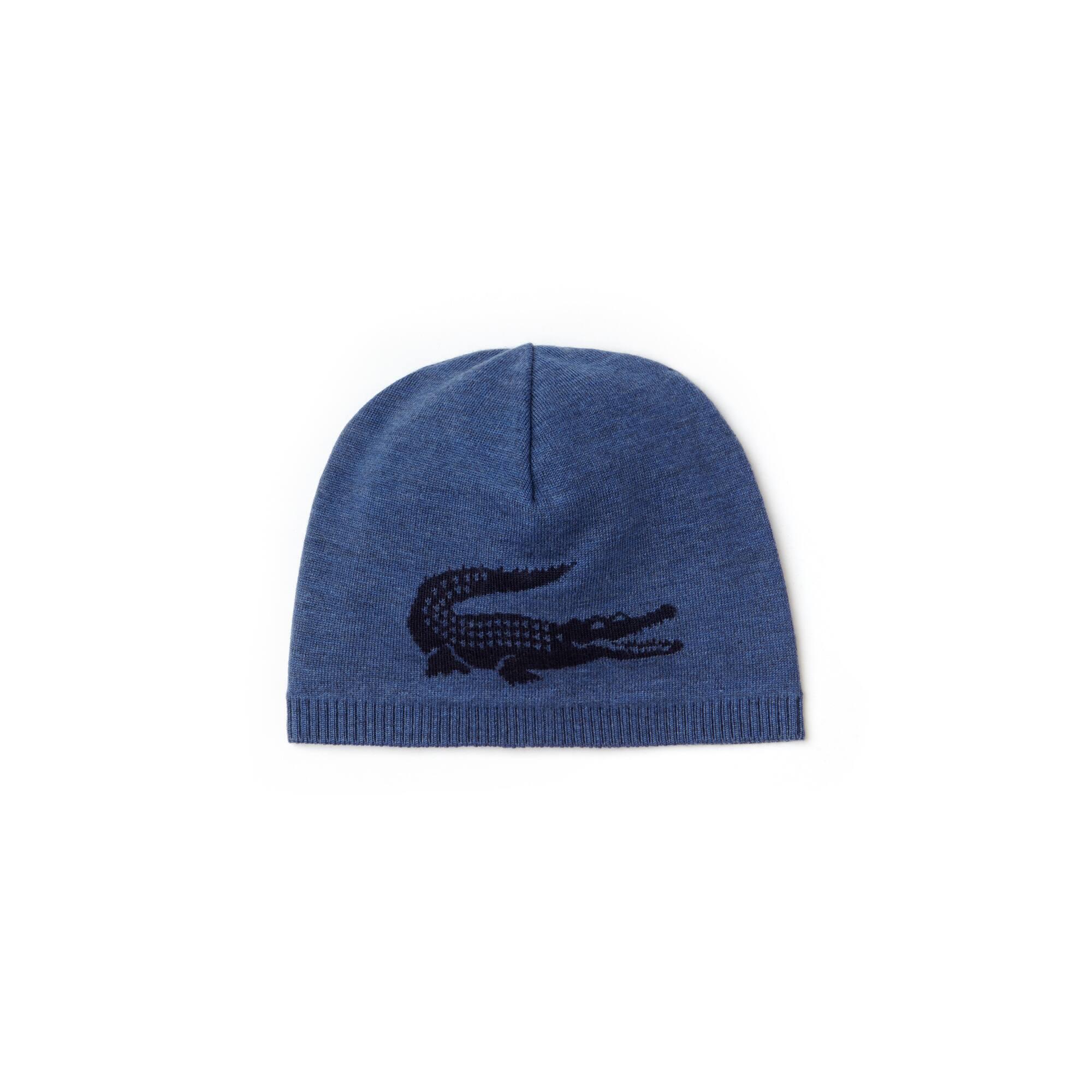 قبعة صغيرة من الصوف مزدانة بشعار التمساح المُصنَّع من نسيج الجاكار للرجال