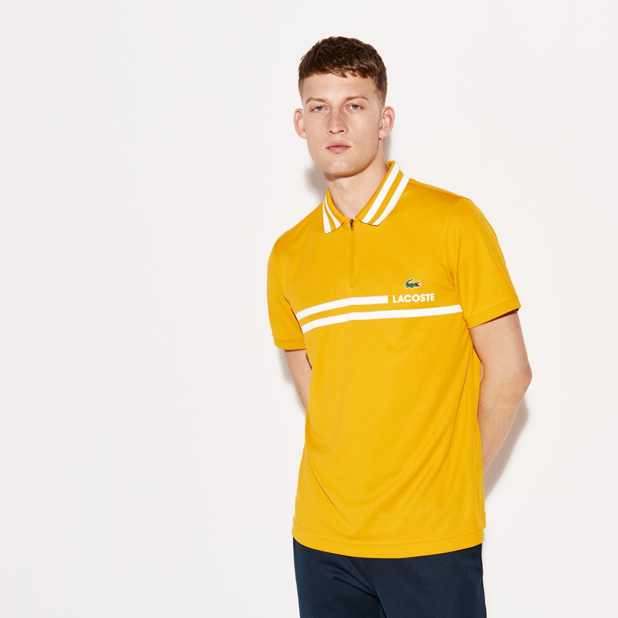 قميص بولو رجالي للتنس من لاكوست سبورت بأشرطة متباينة الألوان وبخامة  بيكيه