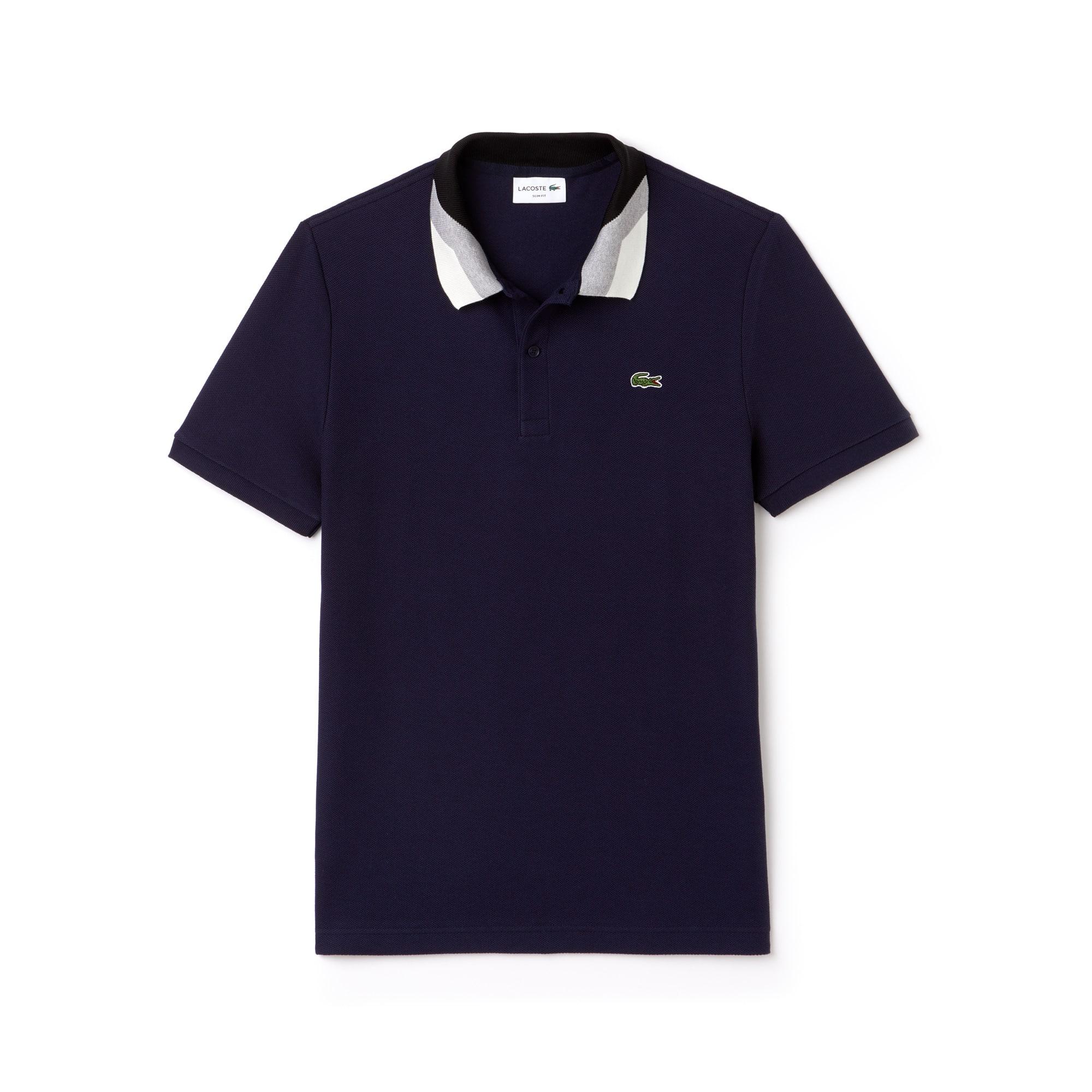 قميص بولو Lacoste ذو قصَّة ضيقة مُقلمة من نسيج محاك بأسلوب نوب بيكيه وبألوان متباينة للرجال