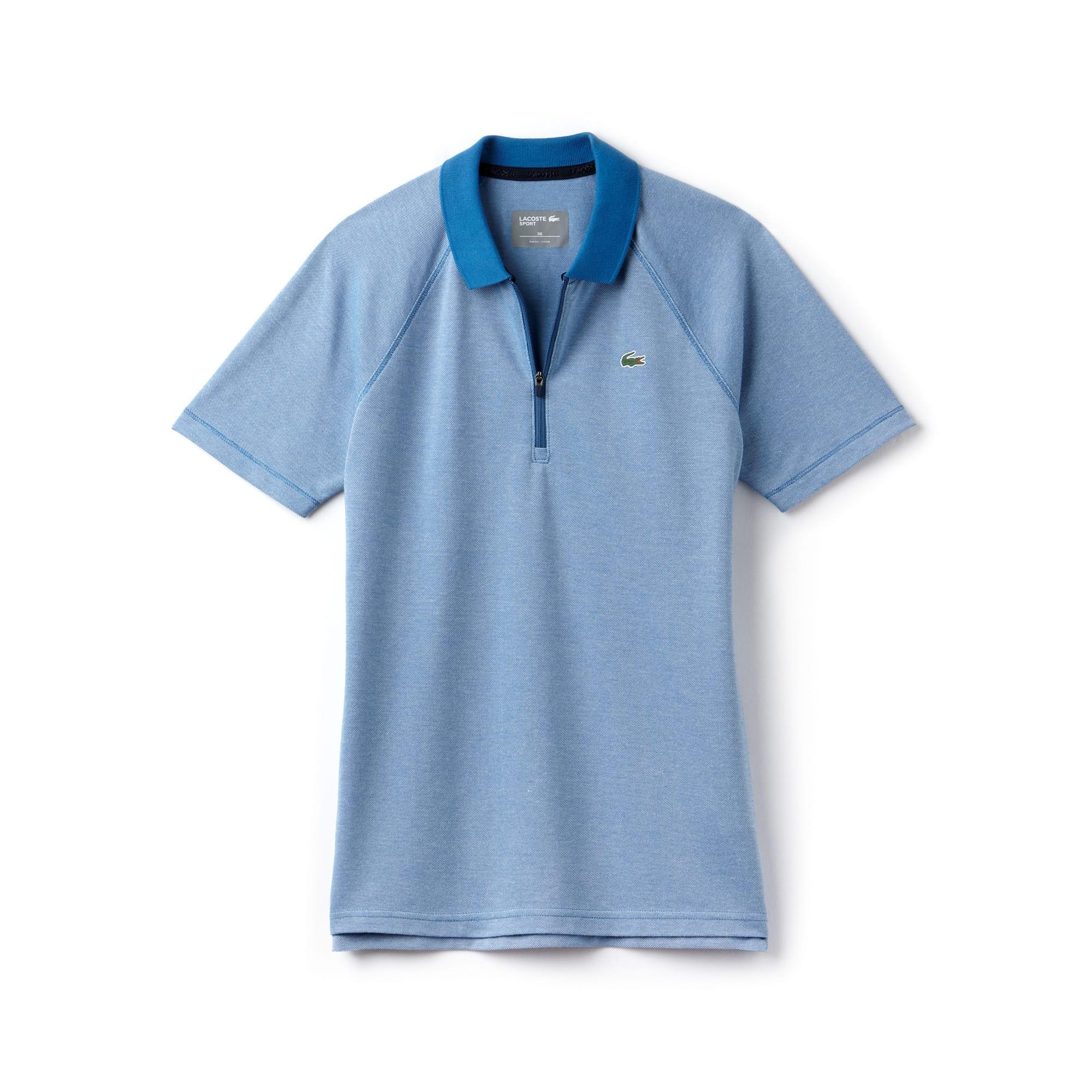 قميص البولو للغولف النسائي من لاكوست سبورت يتميز برقبة لها سحّاب وبخامة جيرسي