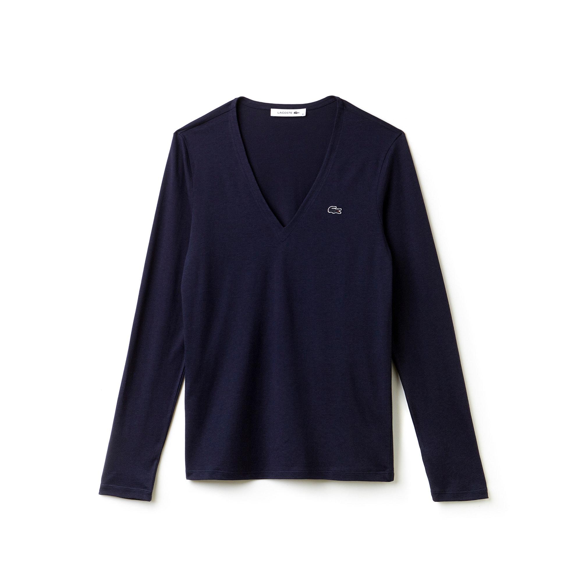 قميص تي-شيرت فضفاض من قطن الجيرسيه مزود برقبة على شكل حرف V للسيدات