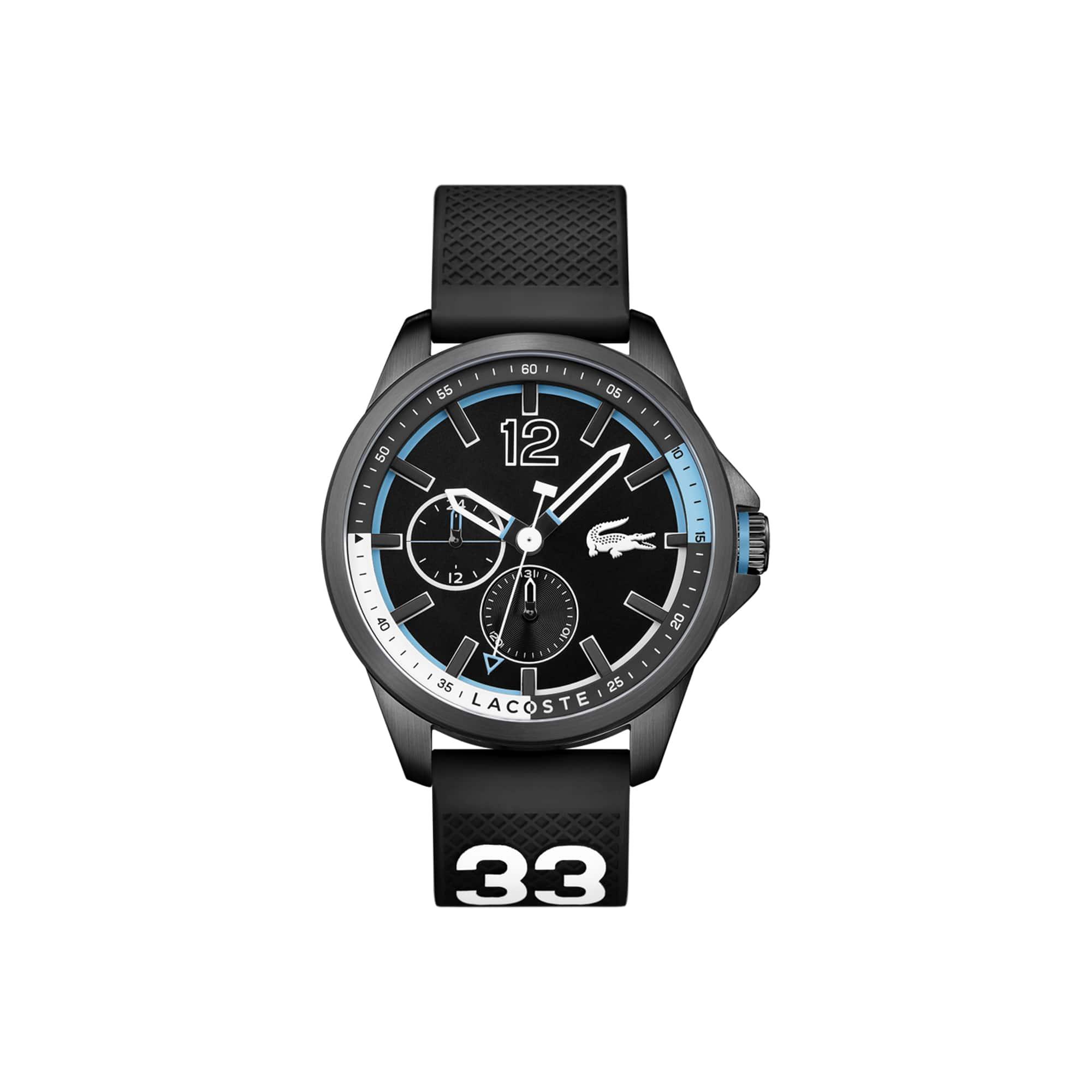 ساعة Capbreton رجالية مع حزام أسود من السيليكون