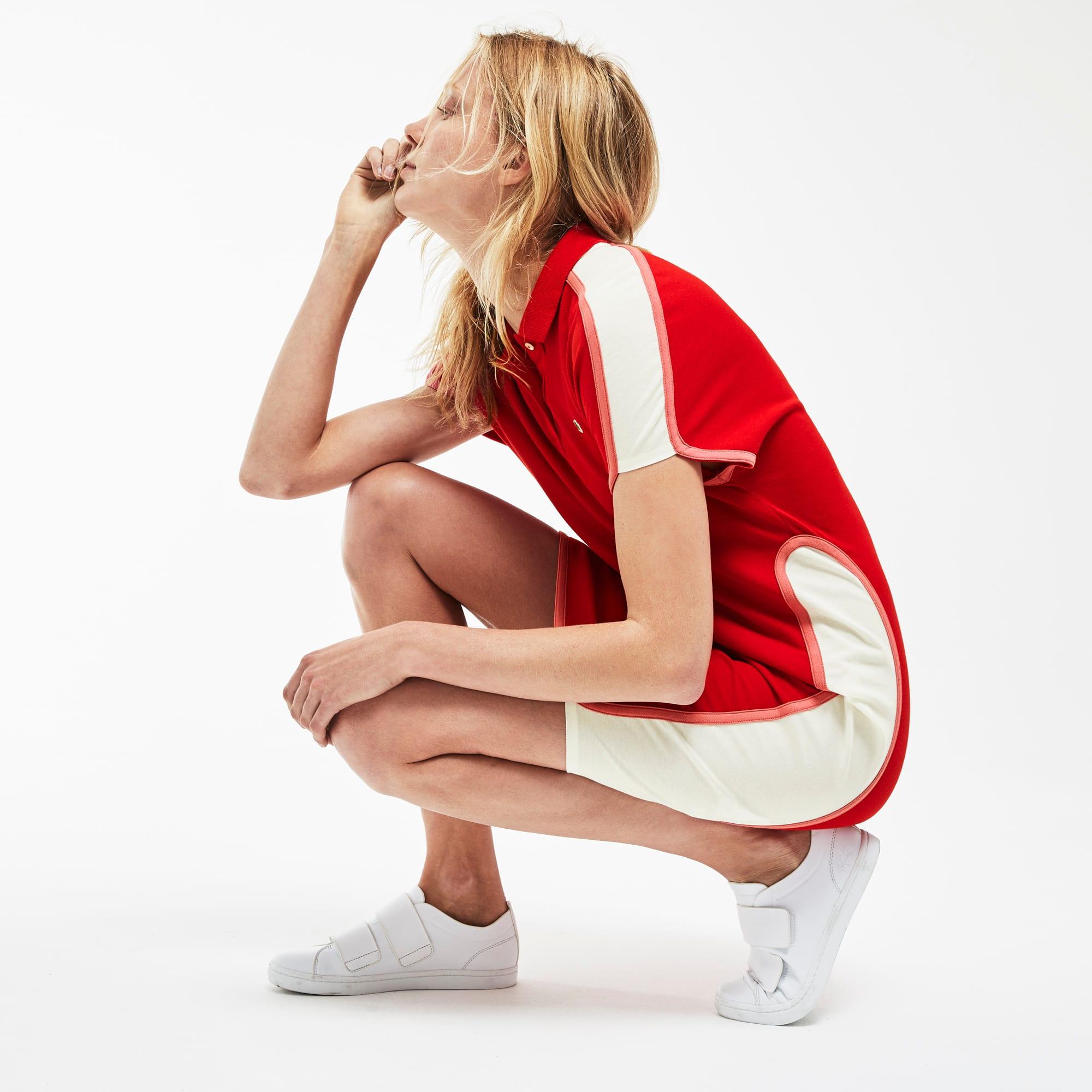 فستان بولو نسائي من مجموعة صُنع في فرنسا مصمم بخامة بيكيه في ألوان متصادمة