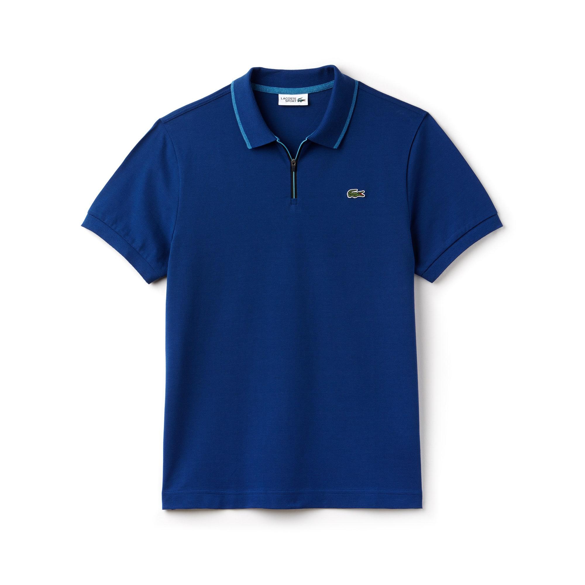 قميص بولو للتنس رجالي من لاكوست سبورت بلمسات متباينة الألوان وبخامة قطنية خفيفة للغاية