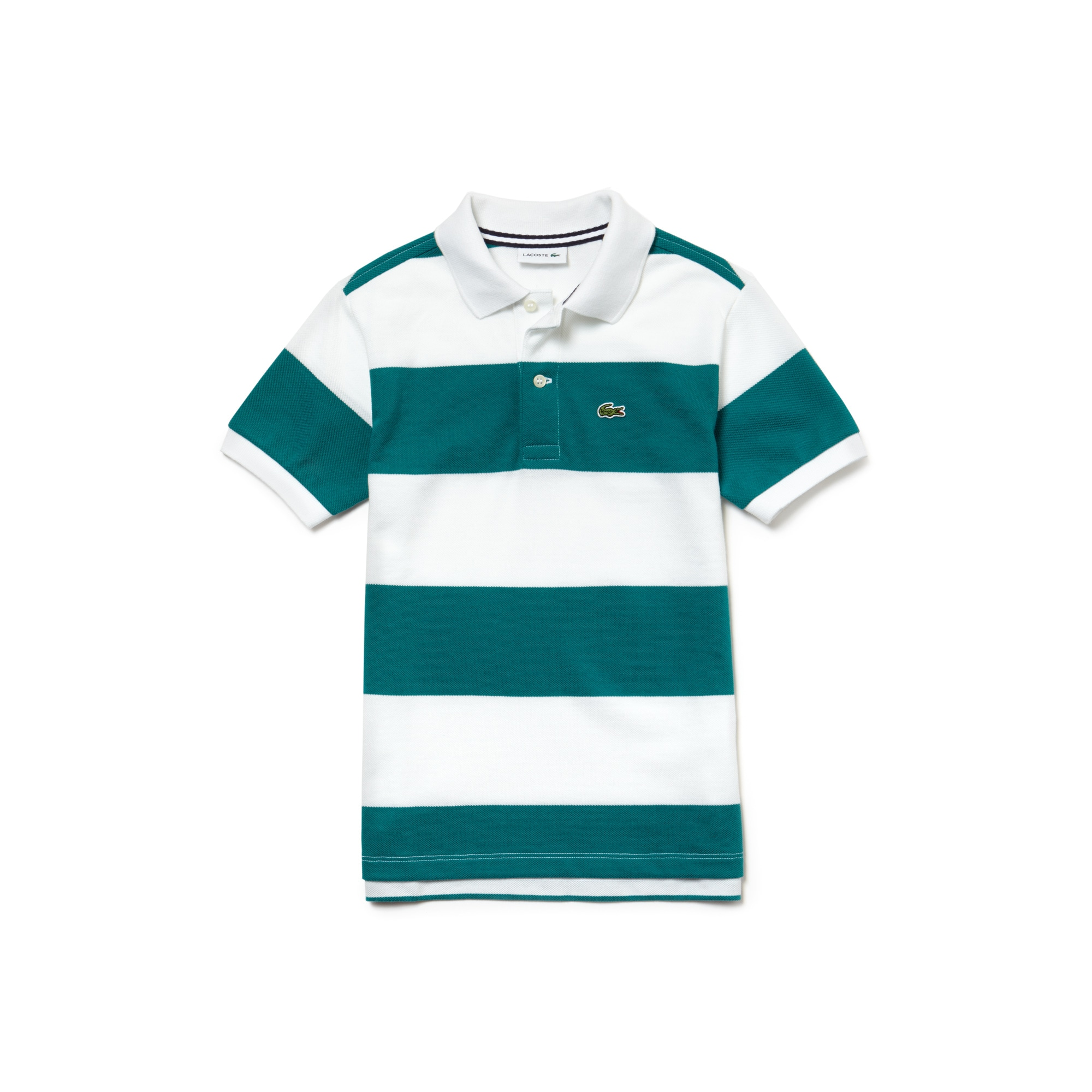 قميص بولو قطن بيتي بيكيه مُقلّم للأولاد من لاكوست.