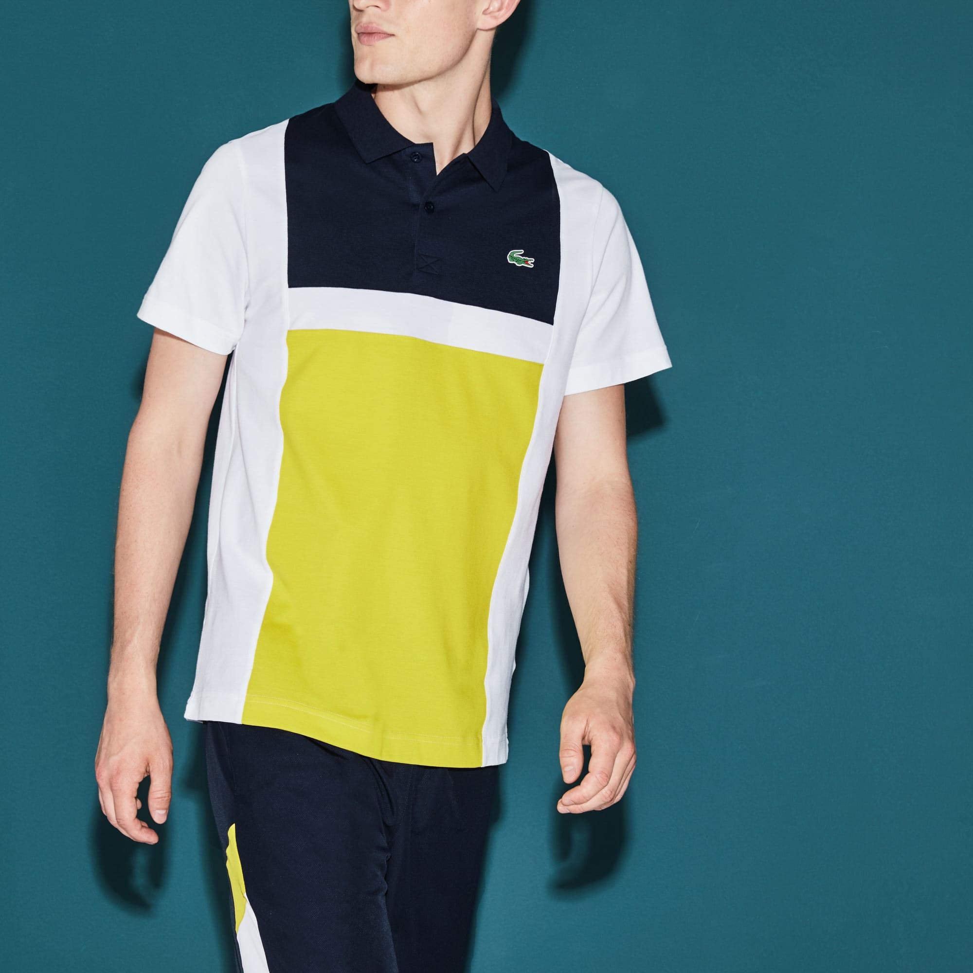 قميص بولو بألوان متباينة من القطن الخفيف من مجموعة Lacoste SPORT Tennis للرجال.