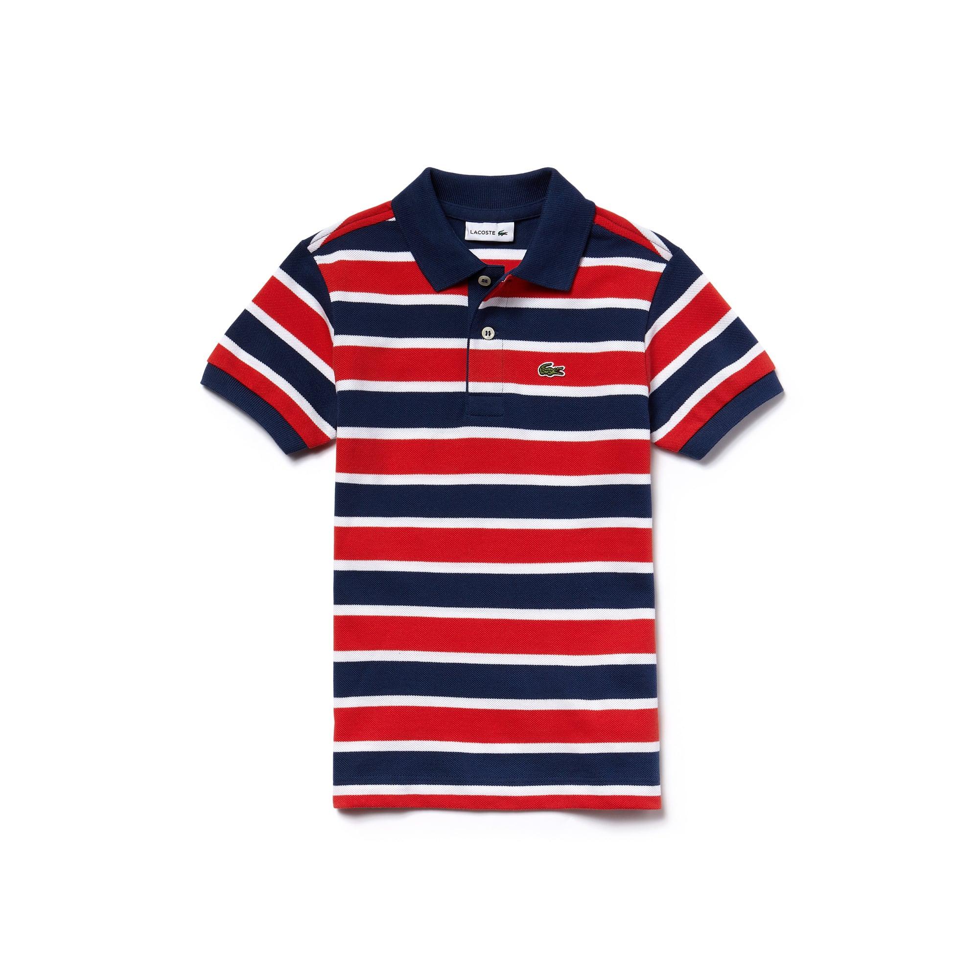 قميص بولو مُقلَّم من القطن المحاك بأسلوب بيكيه للصبيان