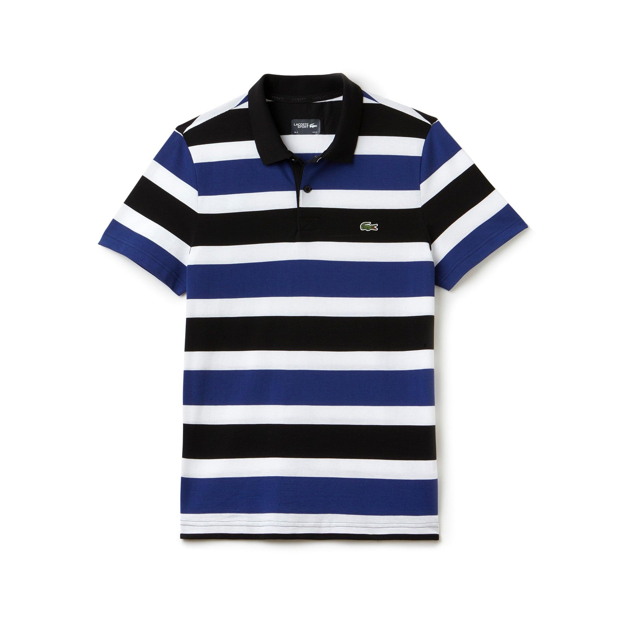 قميص بولو مُقلَّم محبوك من نسيج شديد الخفة من مجموعة Lacoste SPORT Tennis للرجال.