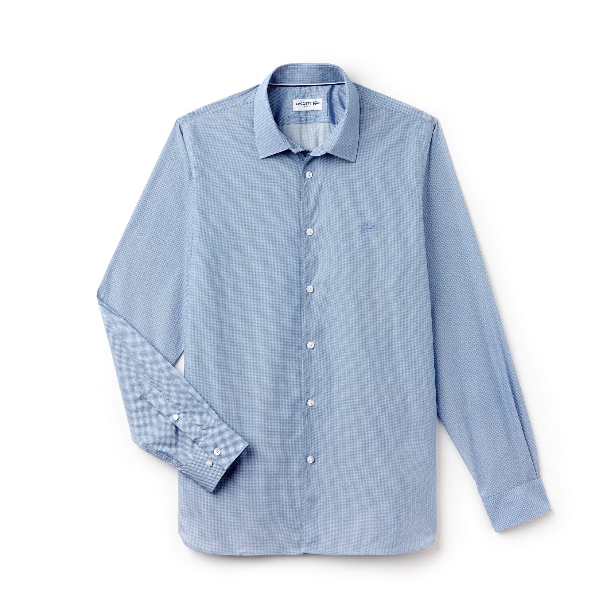 قميص رجالي بقصة ضيقة من قماش الببلين القطني