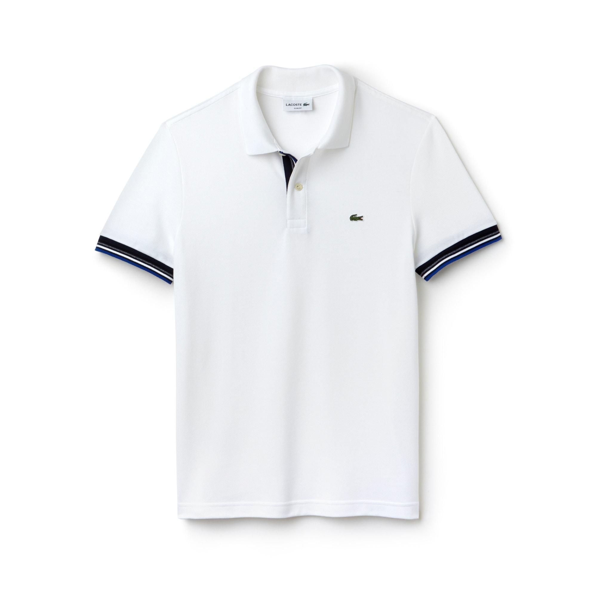 قميص بولو Lacoste بقصة ضيقة من نسيج قطني مزدوج الطبقات بأسلوب حياكة بيتي بيكيه للرجال