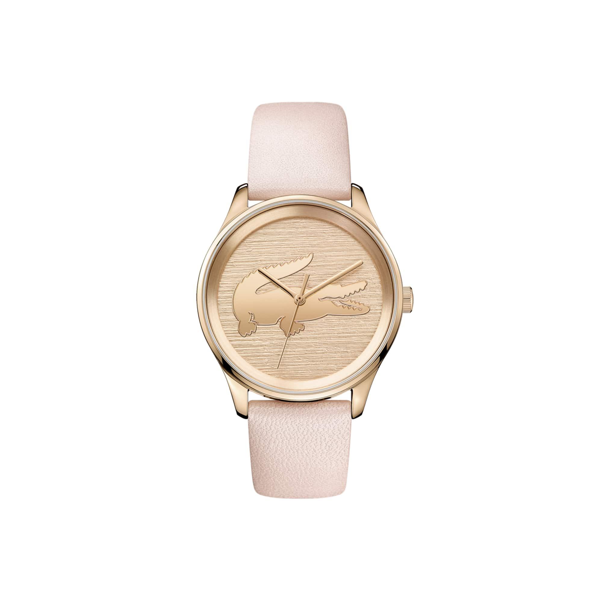 ساعة Valencia نسائية مع حزام زهري من الجلد