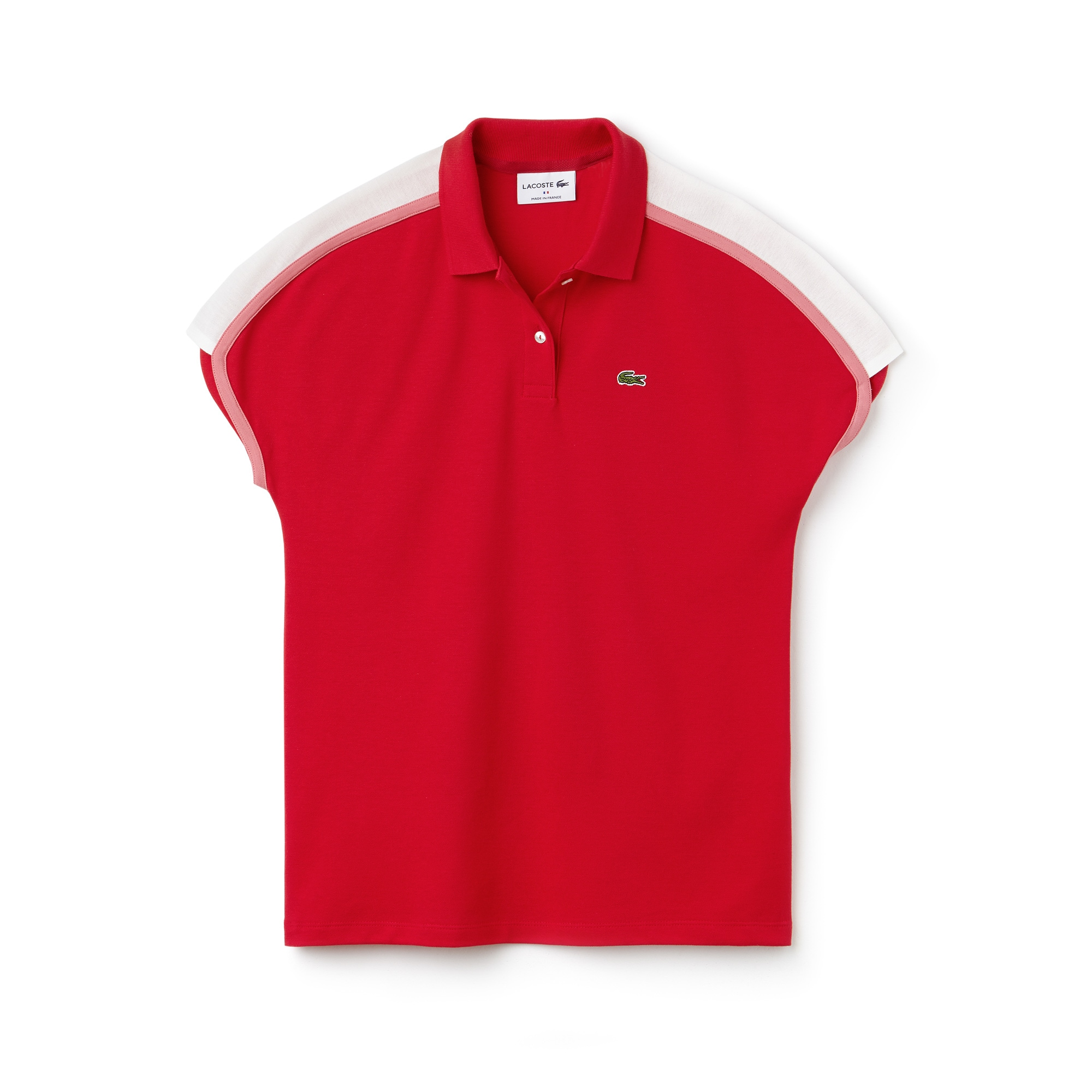قميص بولو نسائي من مجموعة صُنع في فرنسا بتصميم ذي خطوط عرضية في ألوان متصادمة بخامة كريب بيكيه
