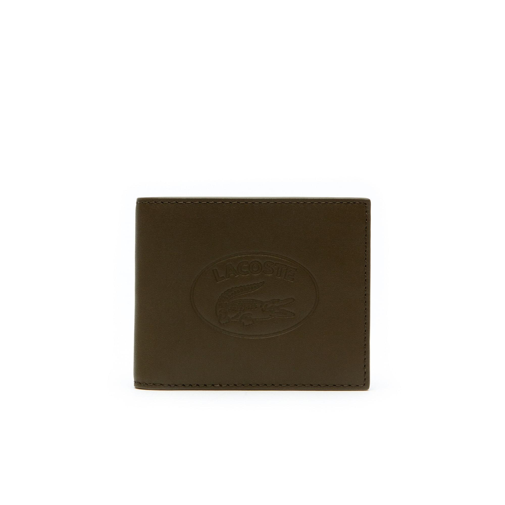 محفظة بطاقات جلدية من مجموعة L.12.12 للرجال تتسع لستة بطاقات مع حروف لاكوست بارزة