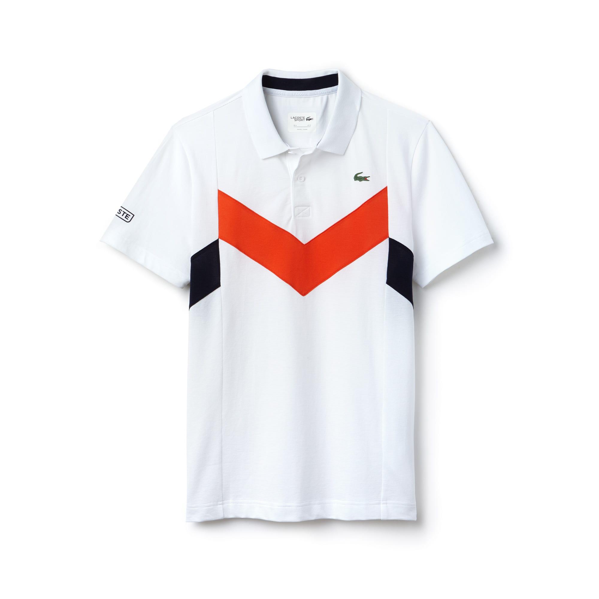 قميص بولو بألوان متباينة محبوك من نسيج خفيف من مجموعة Lacoste SPORT Tennis للرجال.