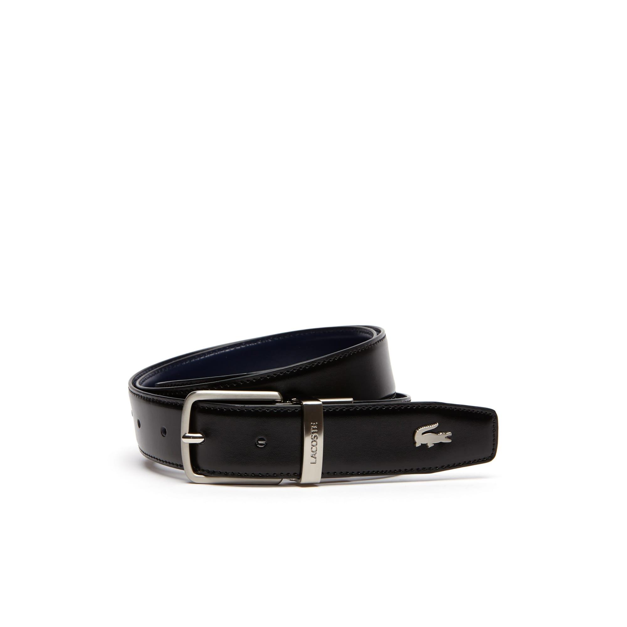 حزام من الجلد قابل للارتداء على الوجهين مُزوَّد بإبزيم ذي لسان محفور عليه حروف كلمة Lacoste للرجال