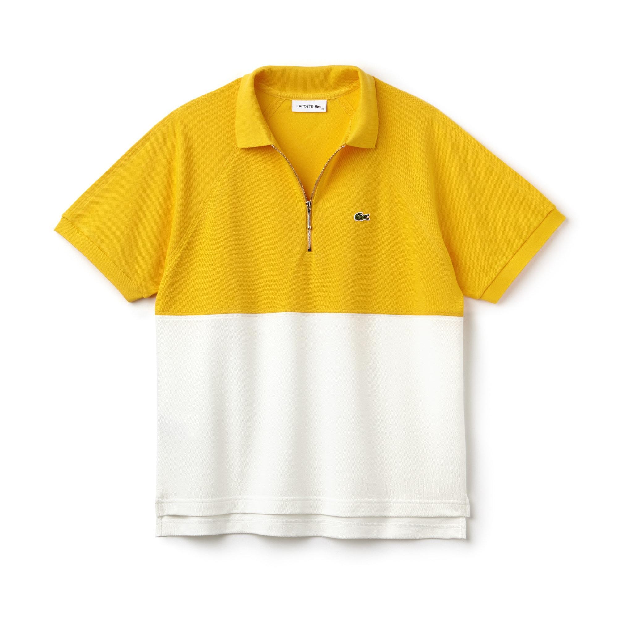 قميص بولو نسائي من لاكوست بمقاس ضيق وبتصميم متصادم الألوان في خامة بيتي بيكيه القطنية
