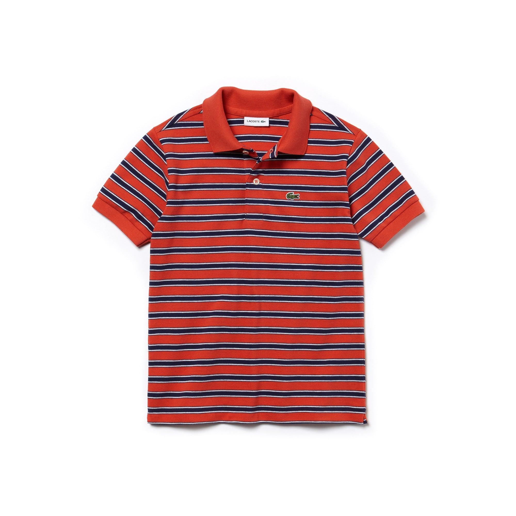 قميص بولو قطن بيكيه مُقلّم للأولاد من لاكوست