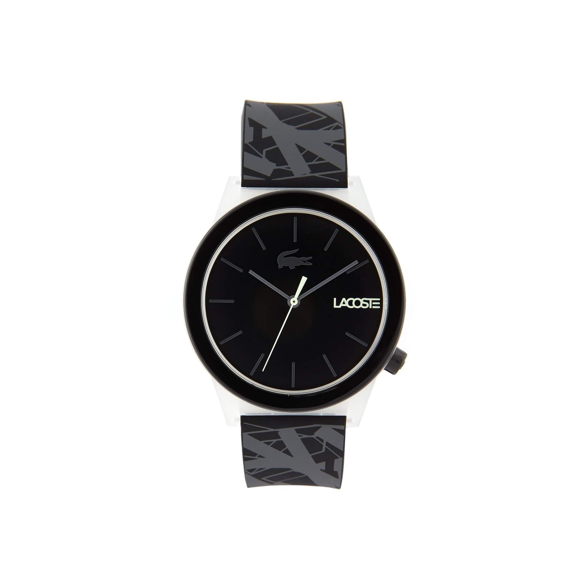 ساعة Motion الرجالية مع حزام أسود من السيليكون