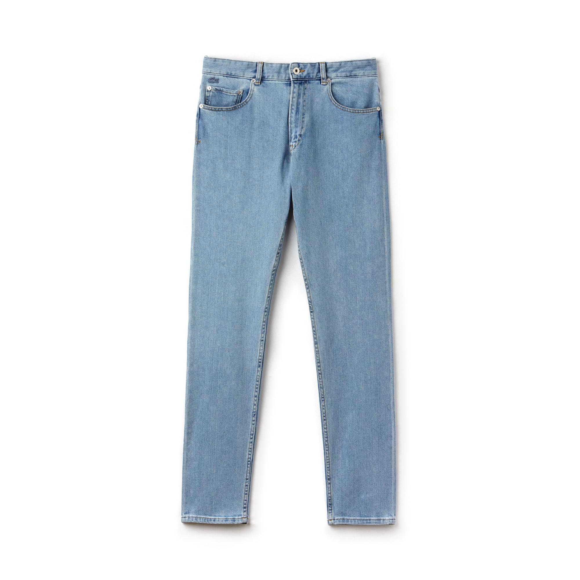 بنطلون جينز  رجالي بقصّة ضيّقة مع 5 جيوب من دينيم قطنيّ مطّاطي