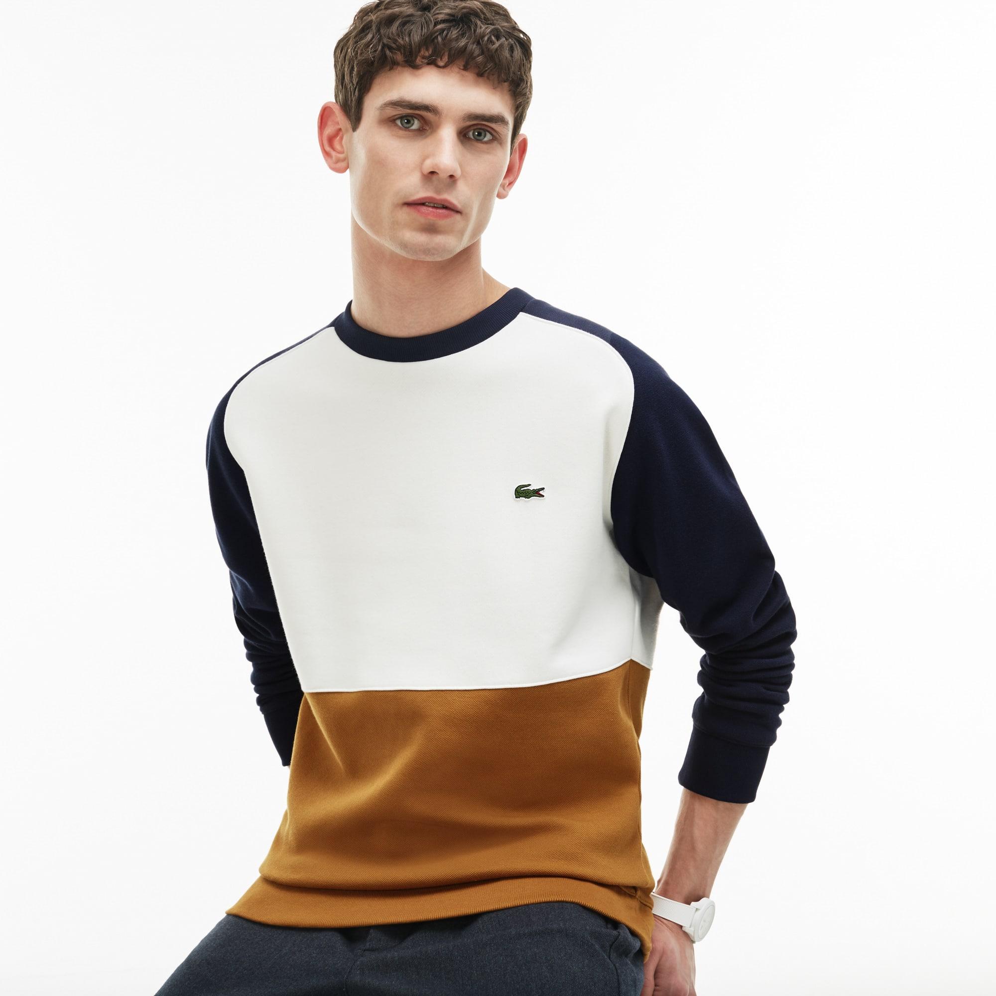 قميص ثقيل من صوف قطني مُحاك بأسلوب بيكيه ذو خطوط بألوان متباينة للرجال