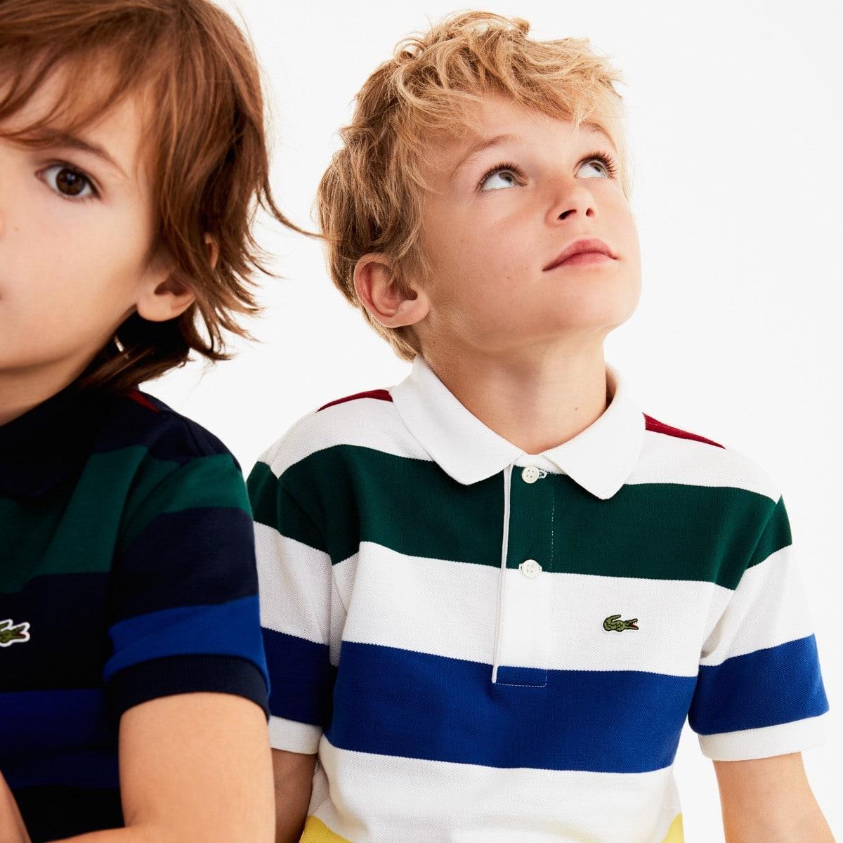 قميص بولو للصبيان مخطط بألون مختلفة من قطن بيكيه من Lacoste