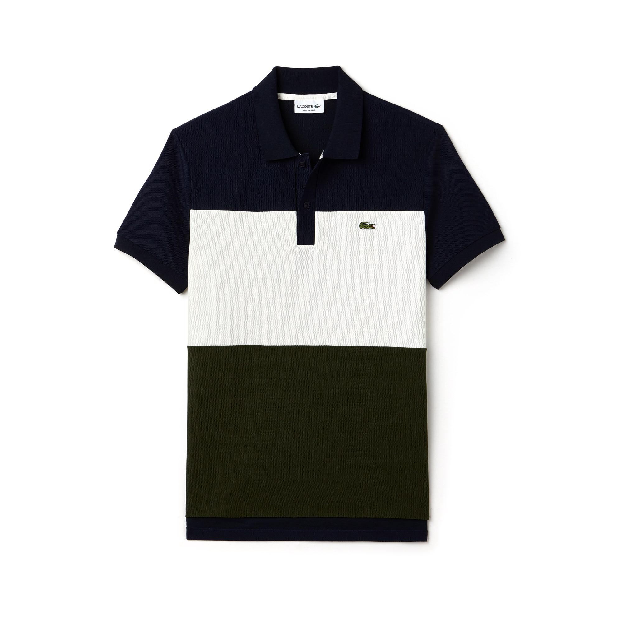 قميص بولو Lacoste قطني مُحاك بأسلوب بيكيه ذو ألوان متباينة وقصة عادية للرجال