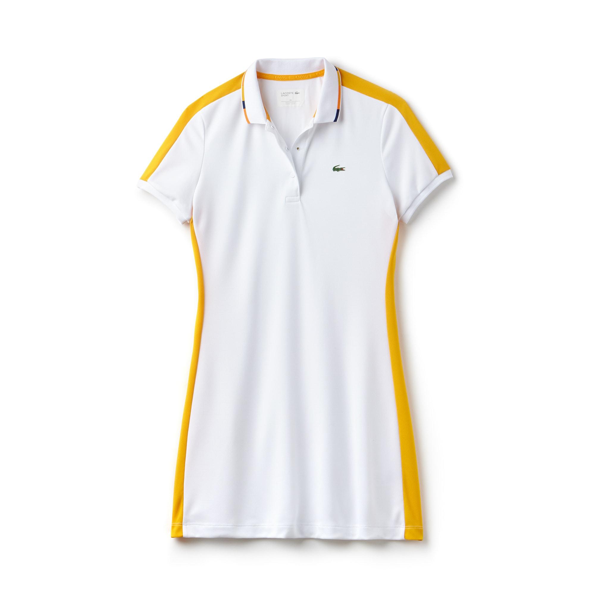 فستان تنس بولو نسائي من لاكوست سبورت بألوان متباينة وبخامة تيكنيكال بيكيه