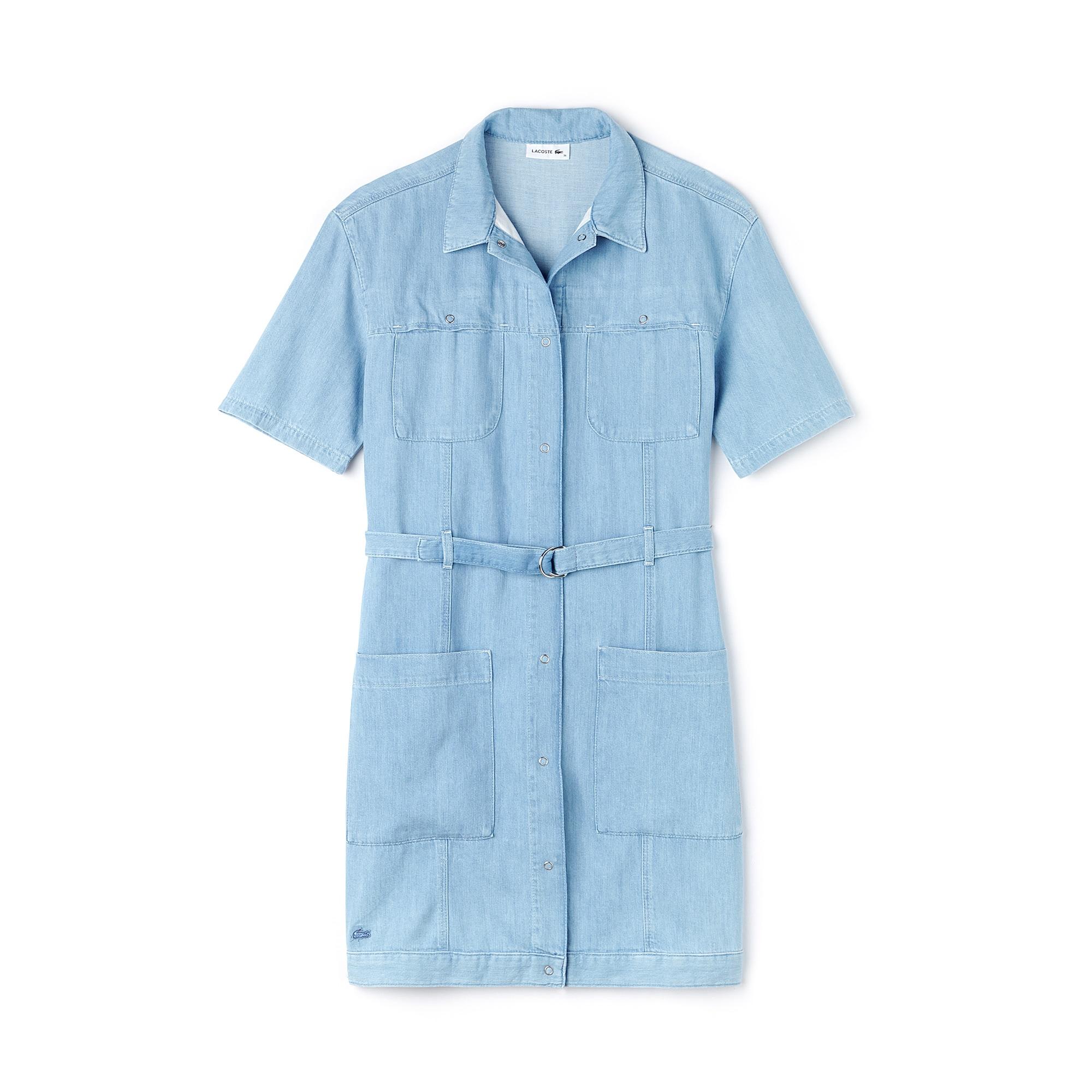 فستان نسائي متعدد الجيوب ومزود بحزام ومُعد من خامة الدينيم القطنية