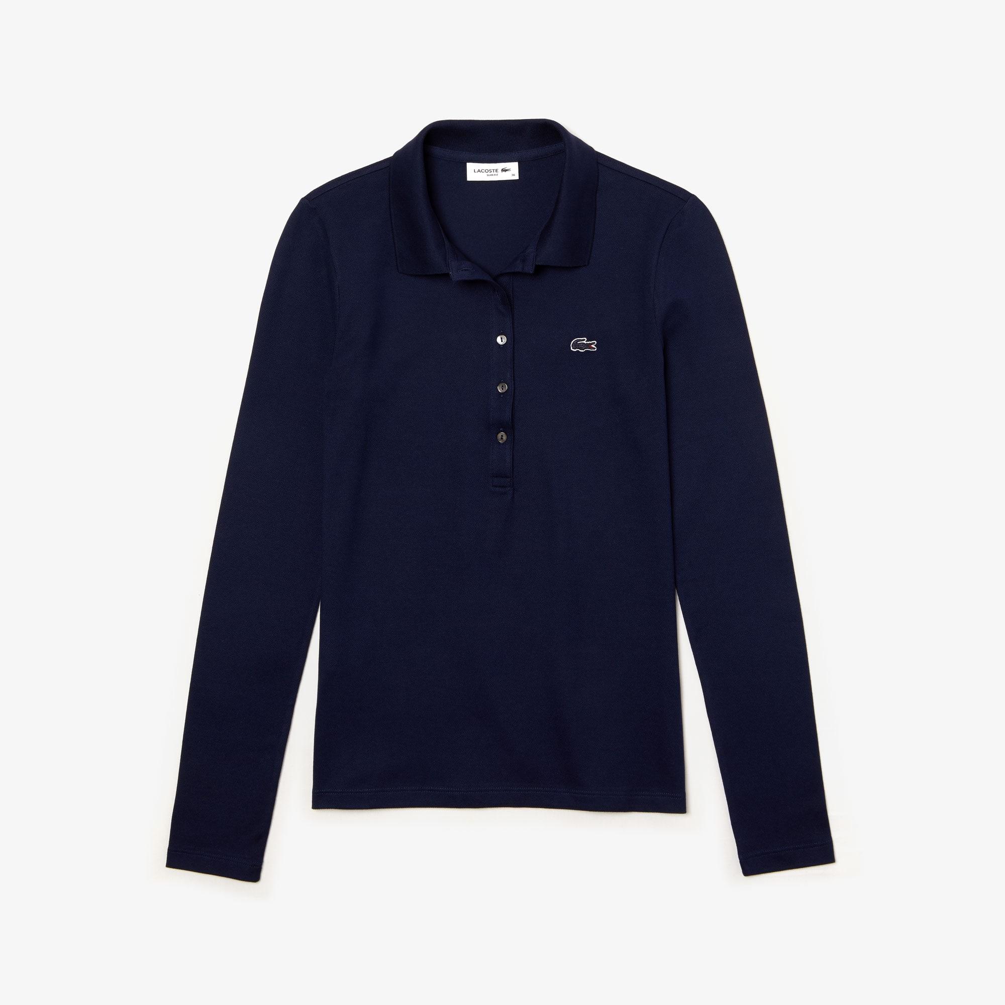 قميص بولو Lacoste للنساء مقاس ضيق من قماش البيكيه