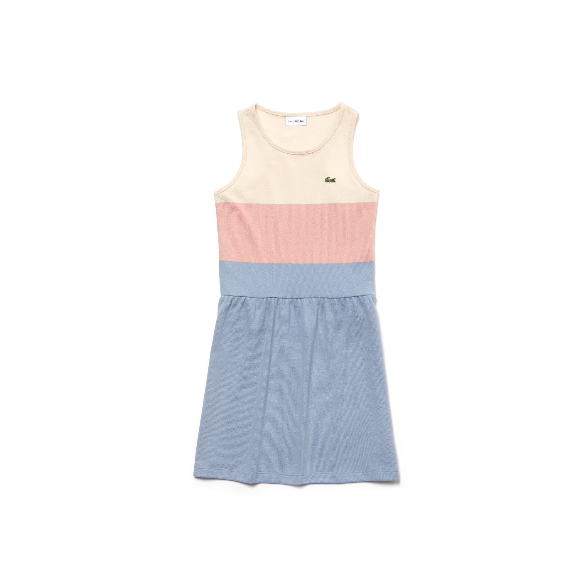 فستان للفتيات مصمم في ألوان متصادمة وبخامة قطن بيكيه