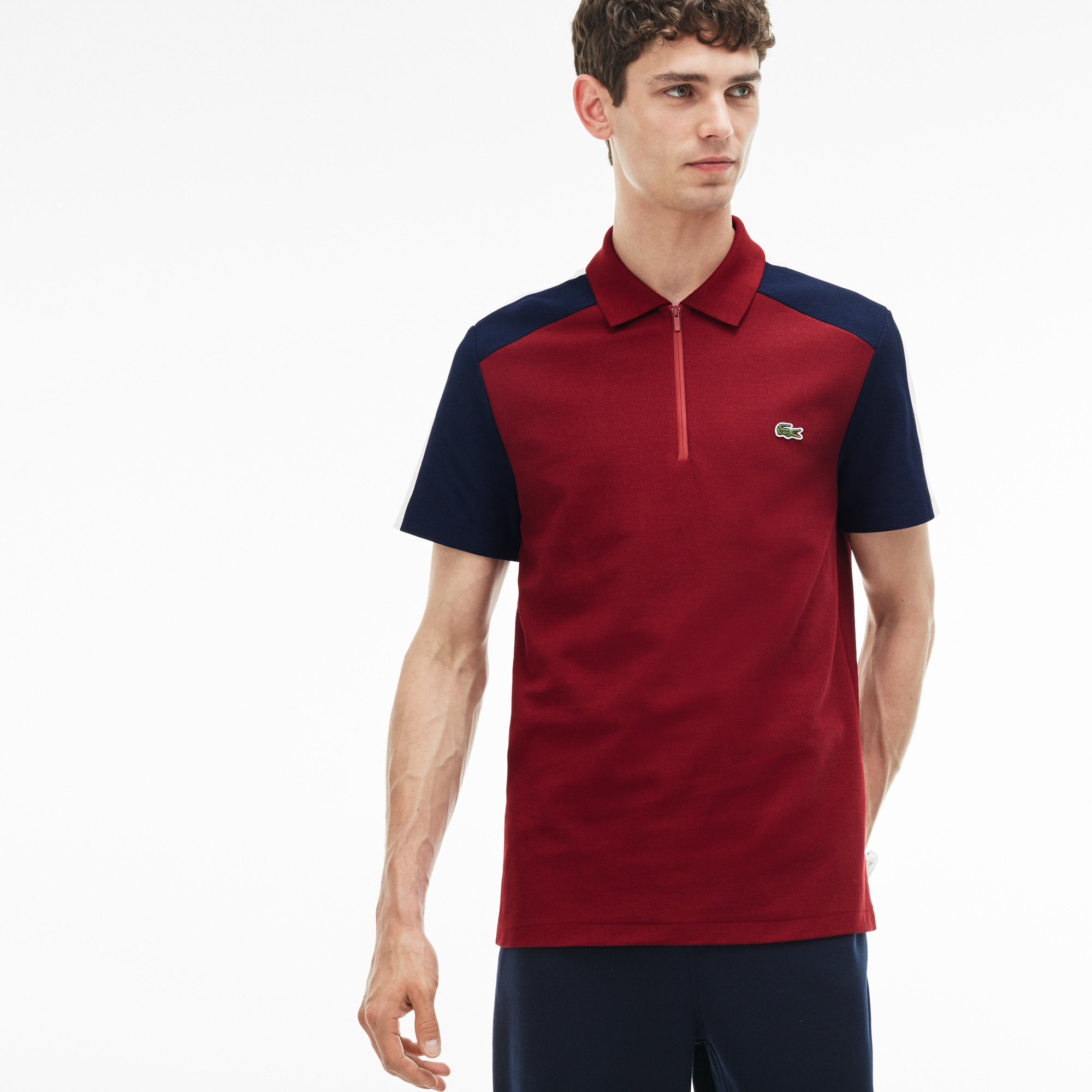 قميص بولو من مجموعة Lacoste Made In France مُحاك بأسلوب بيكيه ذو ألوان متباينة وقصة منتظمة