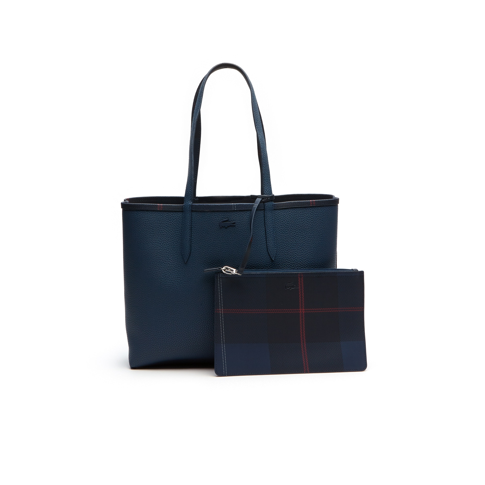 """حقيبة نسائية من مجموعة """"أنا"""" يمكن ارتداؤها على الجهتين بلونين بنقوش مربعة"""