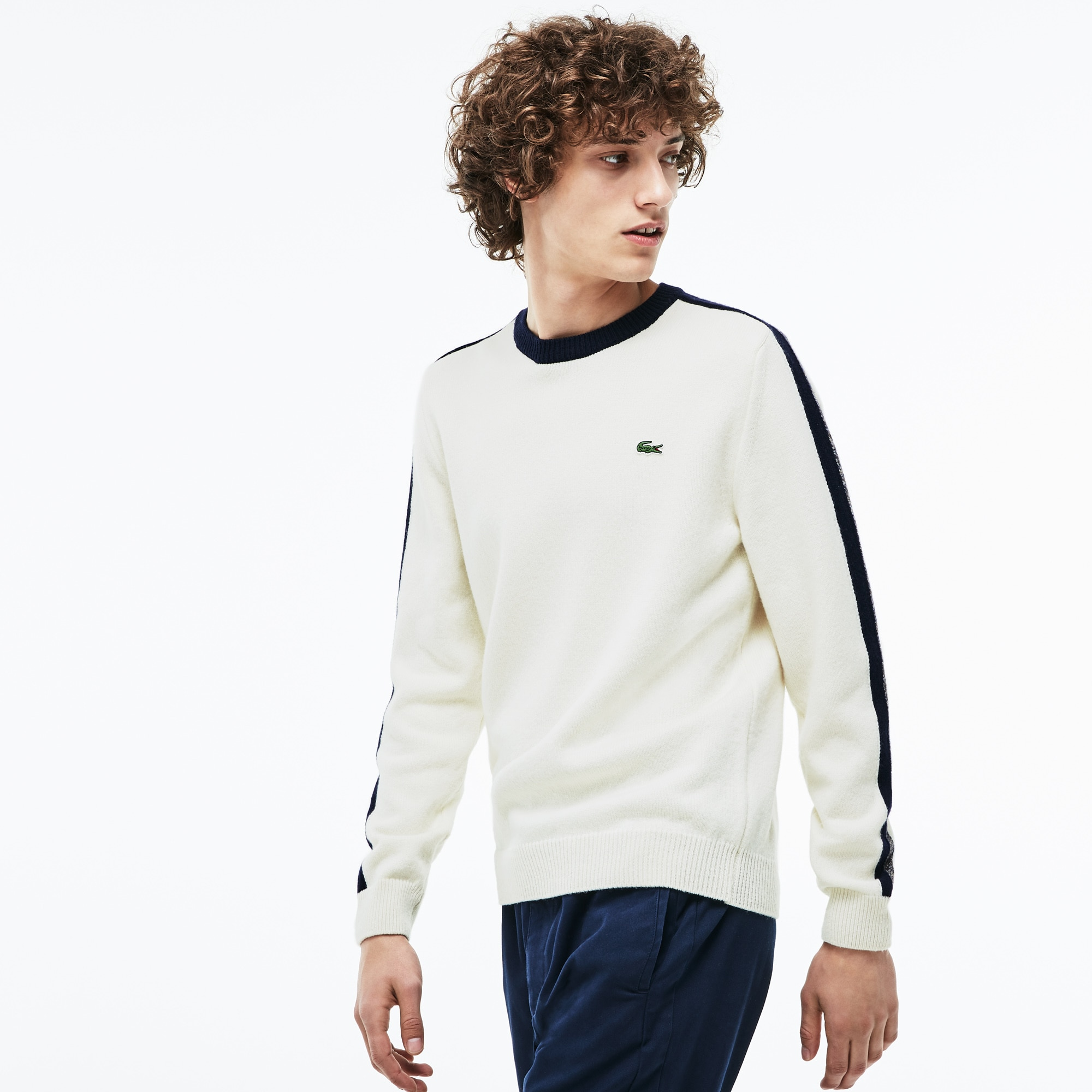 851cd3a969c881 Men's Made In France Crew Neck Contrast Band Jersey Sweater   LACOSTE