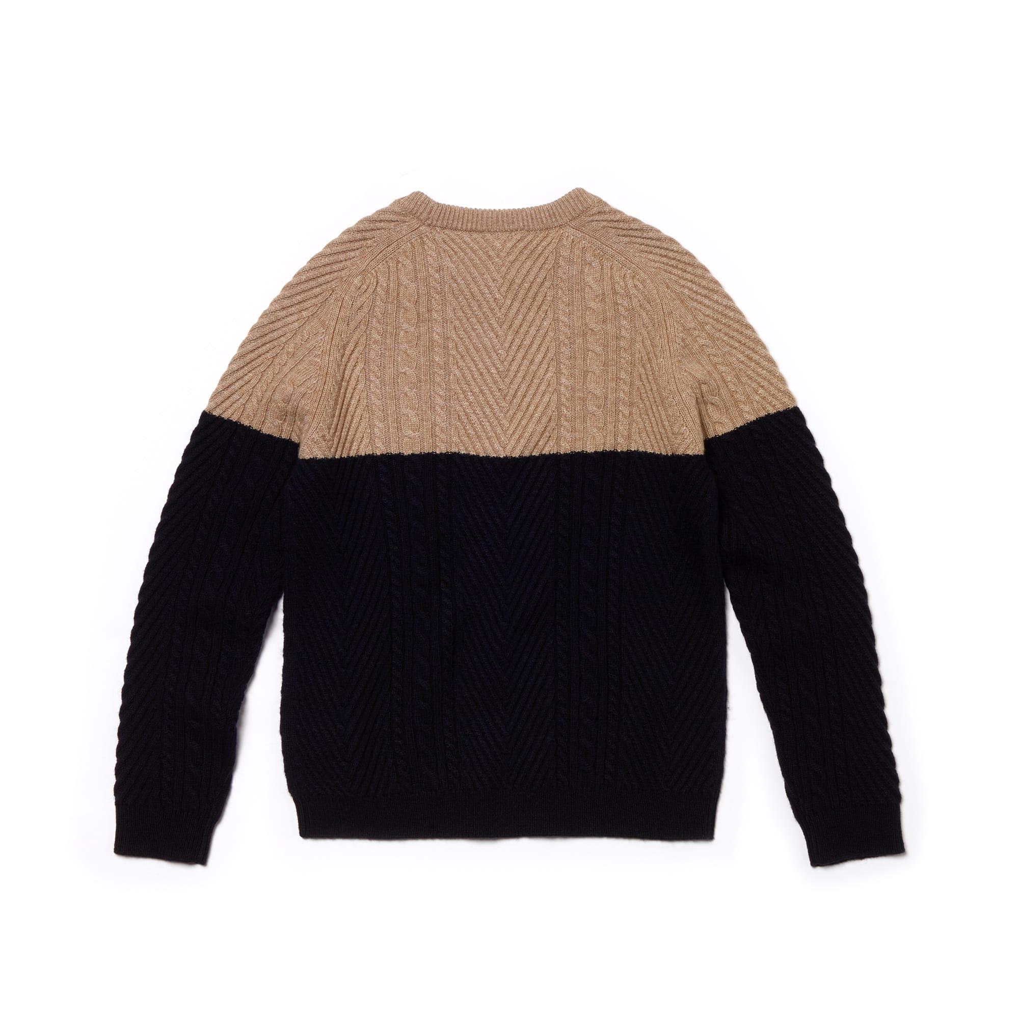 a8f9eba6a9 Boys' Crew Neck Cable Knit Colourblock Cotton Blend Sweater