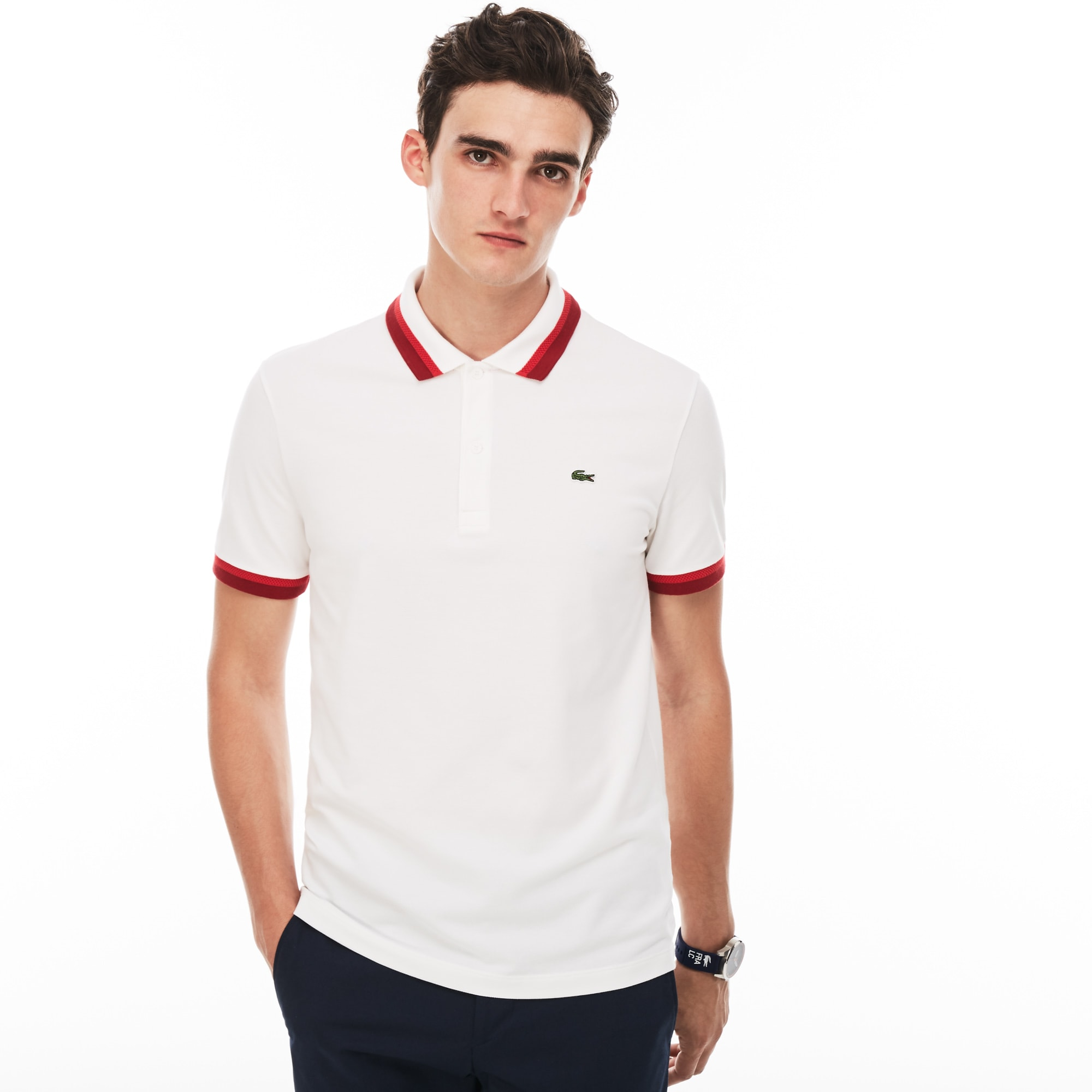 Men's Lacoste Slim Fit Contrast Accents Stretch Pima Piqué Polo Shirt
