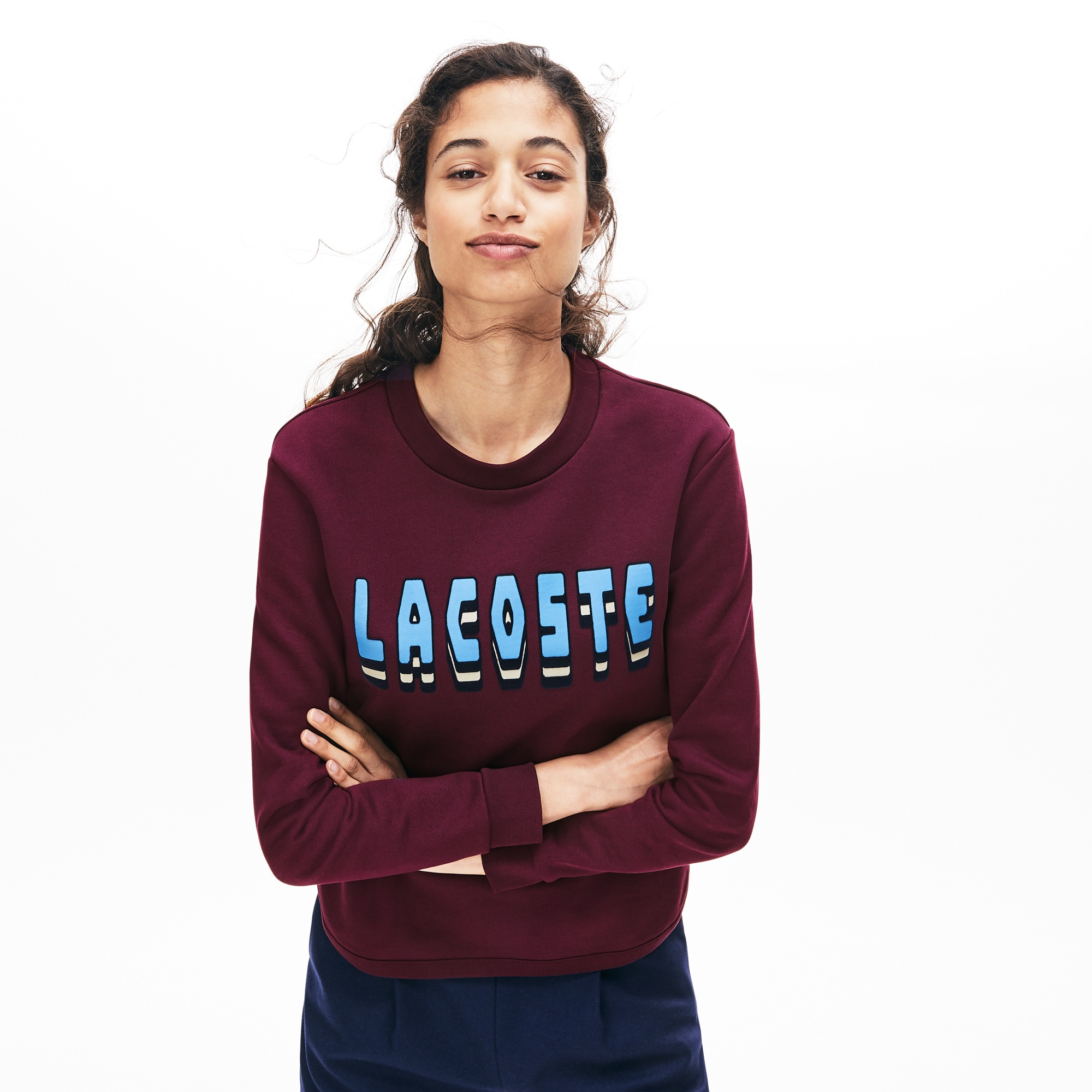 Women's Crew Neck Lettering Cotton Blend Fleece Sweatshirt