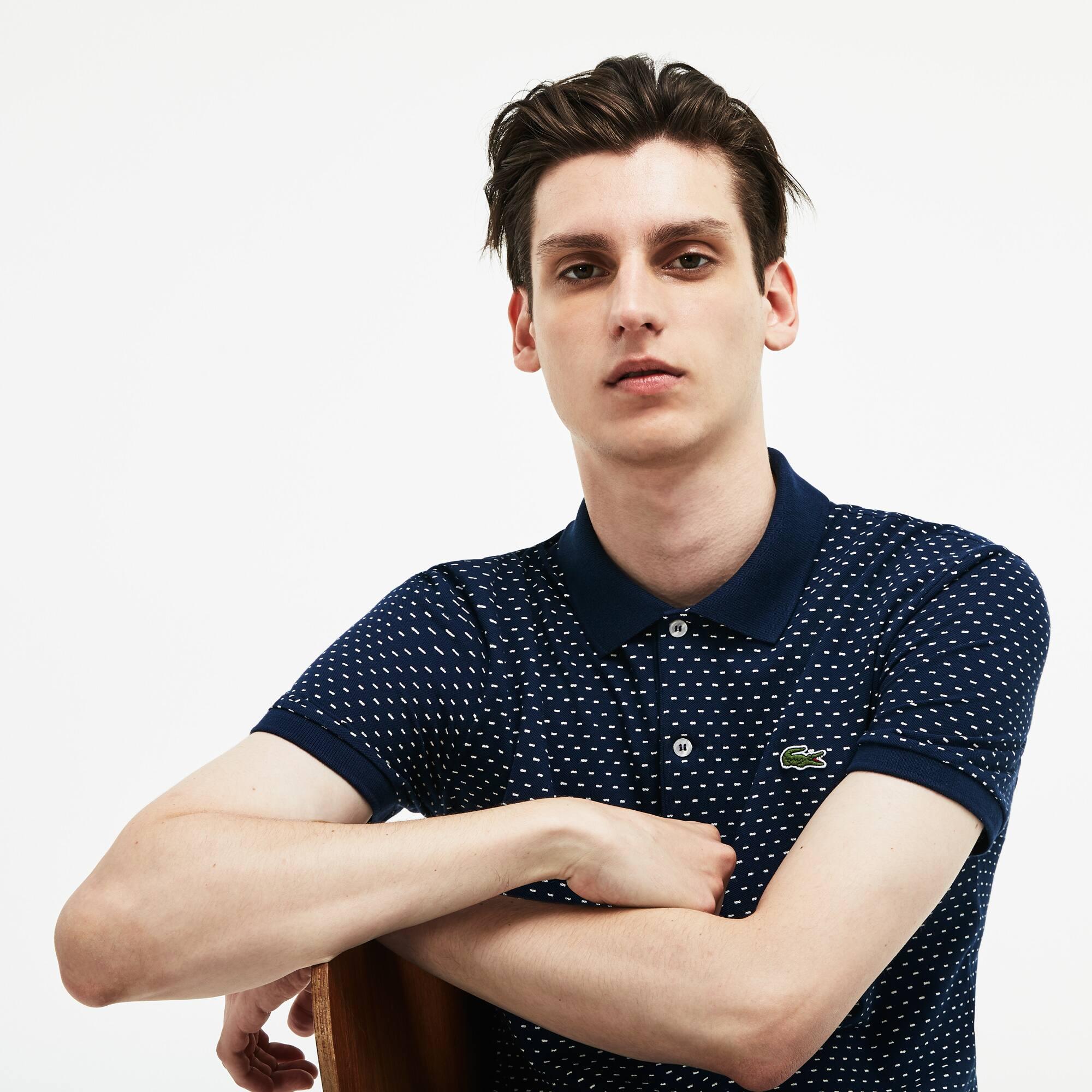 53f77f56d7 Men's Lacoste Slim Fit Print Mini Piqué Polo Shirt